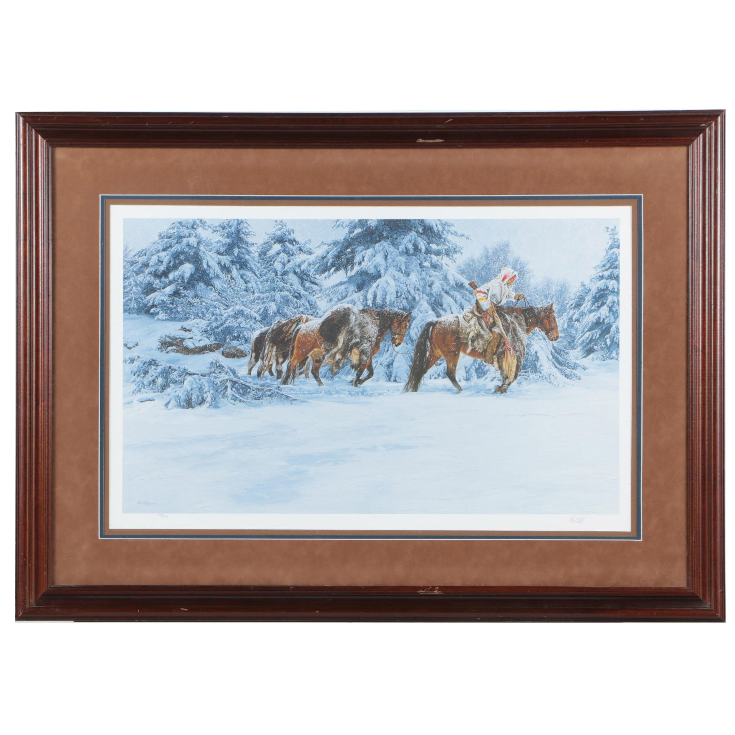 """Paul Calle Limited Edition Offset Lithograph """"When Trails Grow Cold"""""""