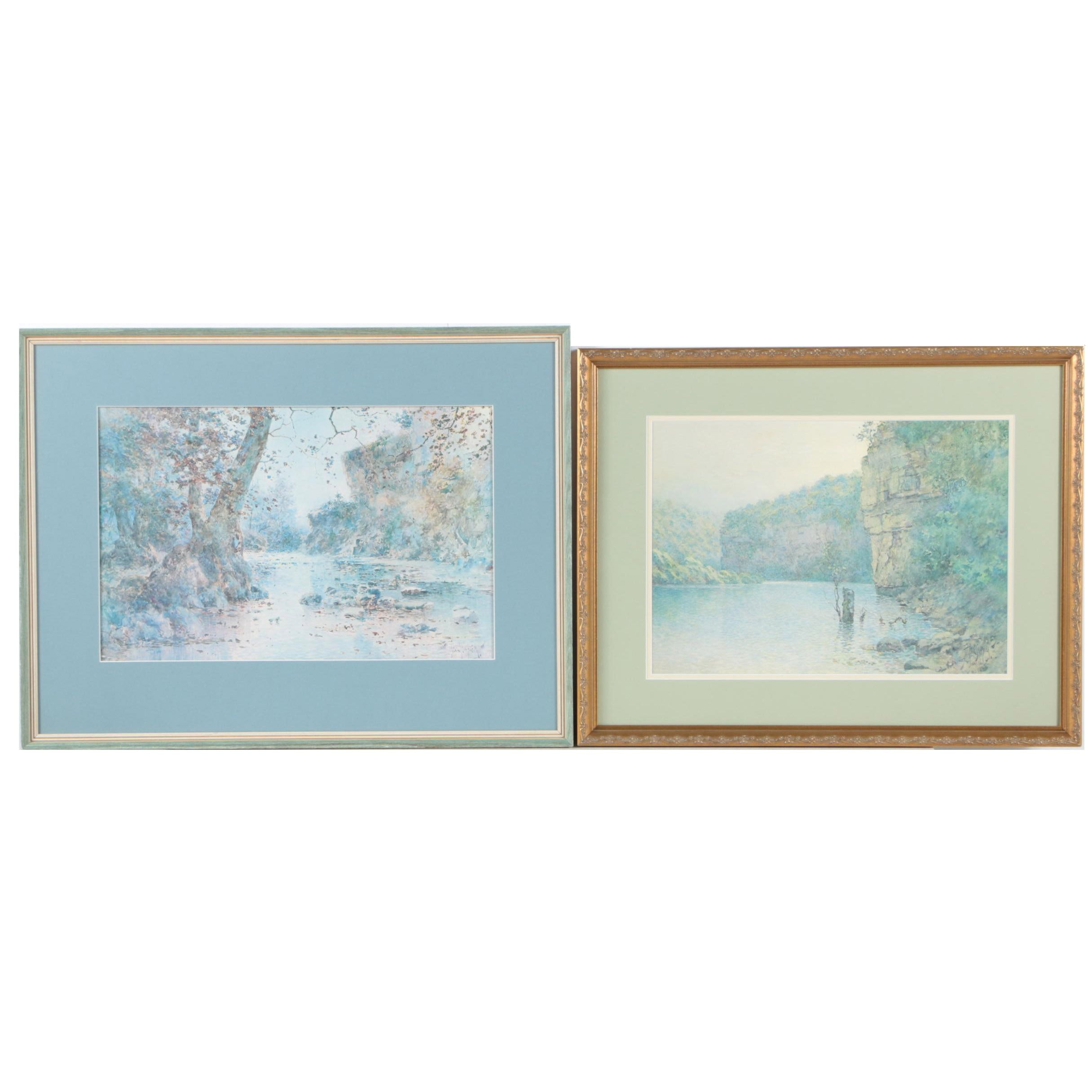 Offset Lithographs Featuring a Limited Edition After Paul Sawyier of Landscapes