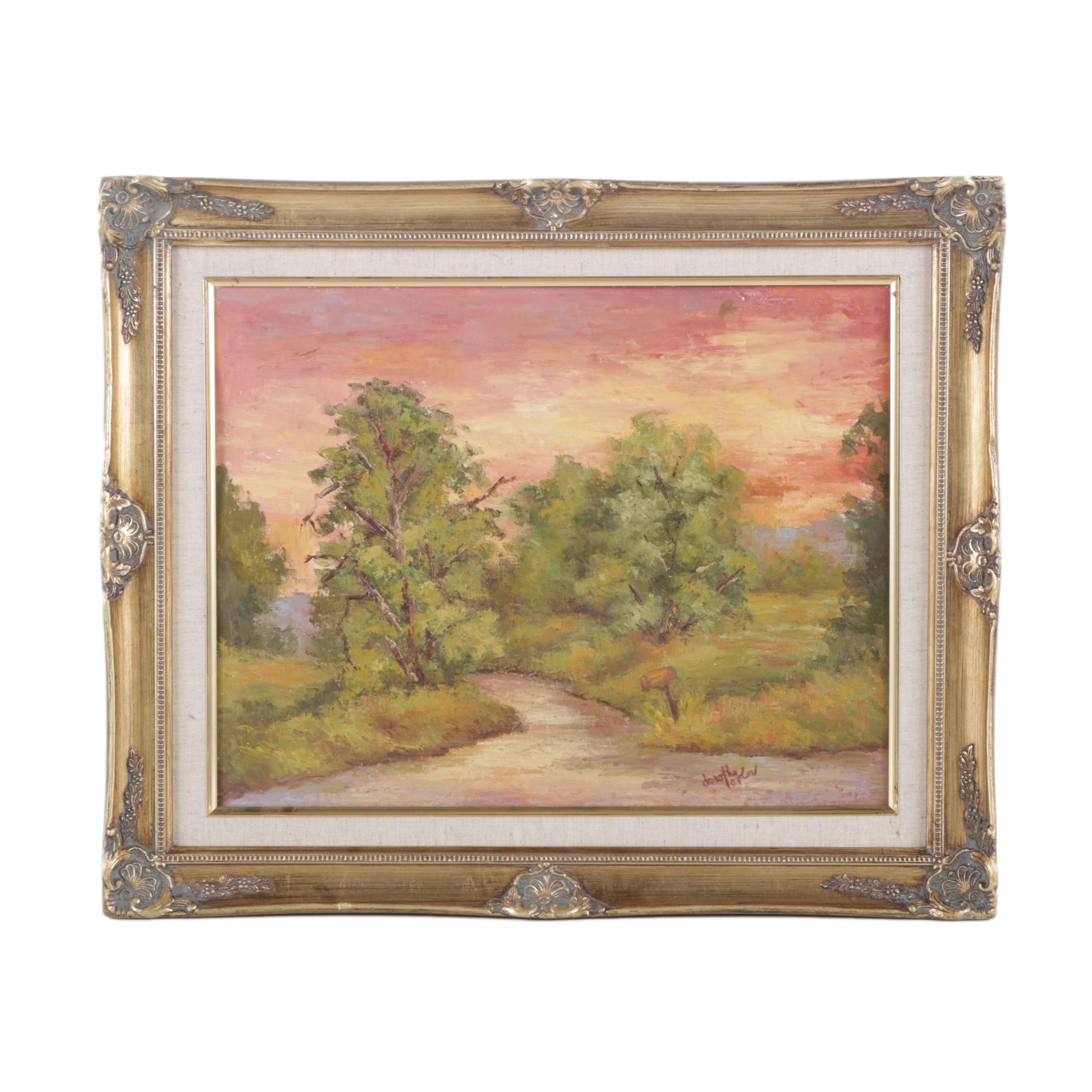 Dorothy Laflor Oil Painting on Canvas Board of Wooded Landscape
