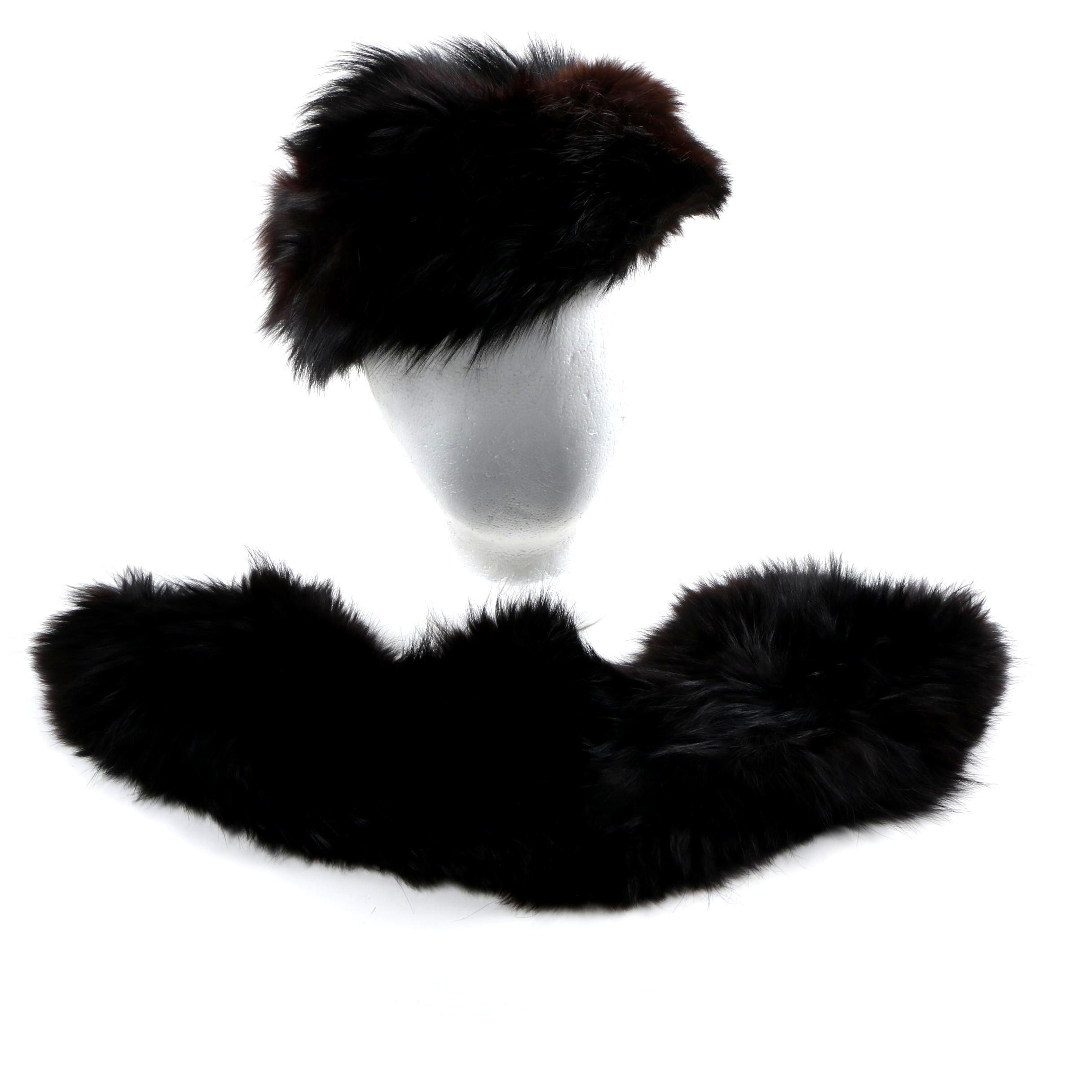 Dyed Fox Fur Collar and Hat