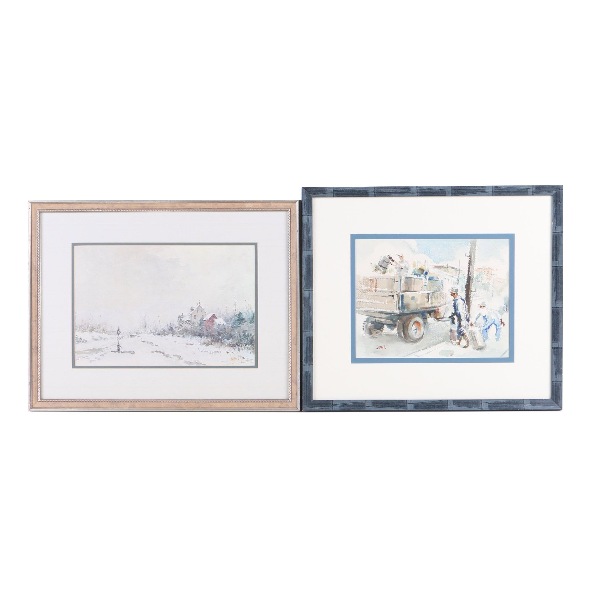 Watercolor Painting and Limited Edition Offset Lithograph on Paper