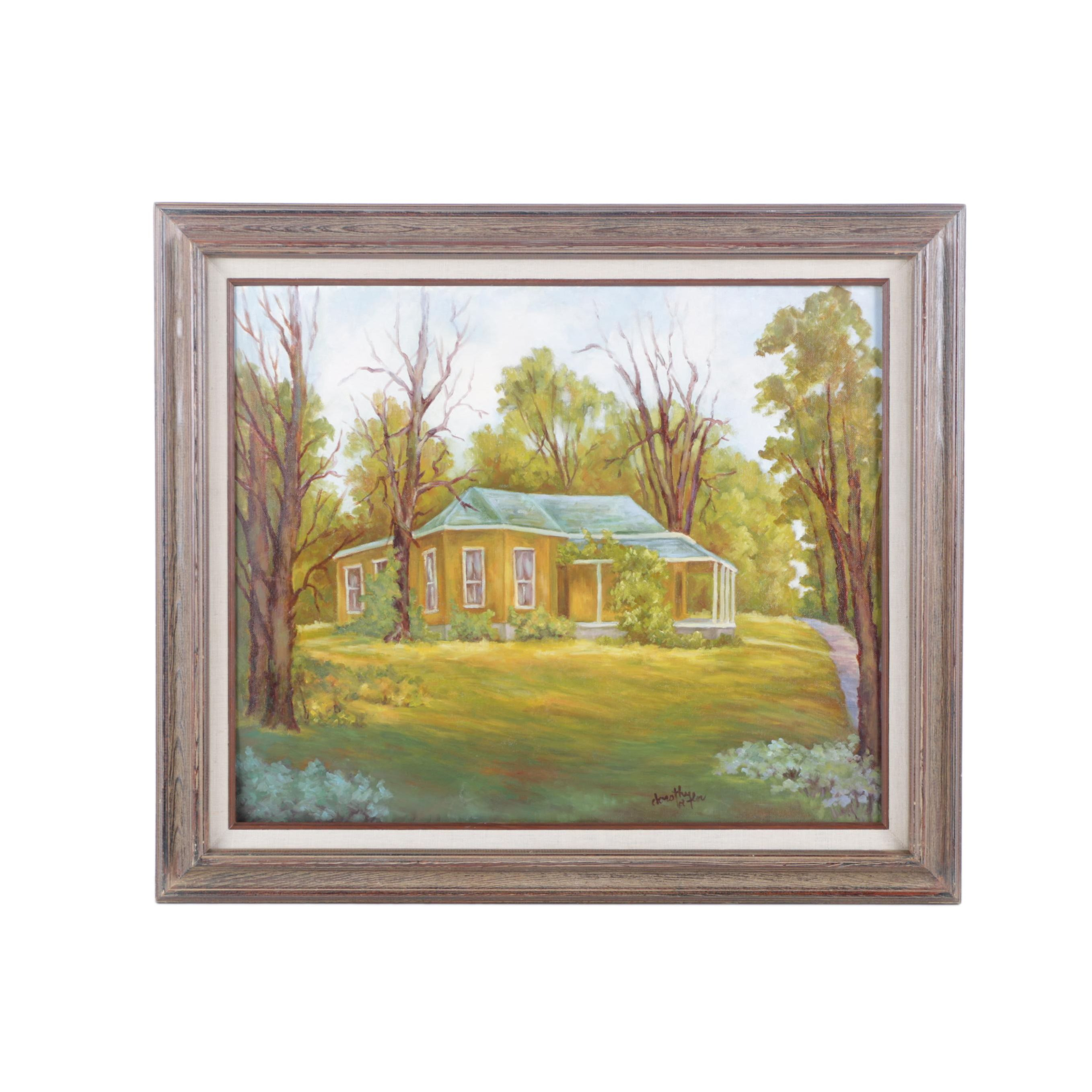 Dorothy Laflor Oil Painting on Canvas Board of House