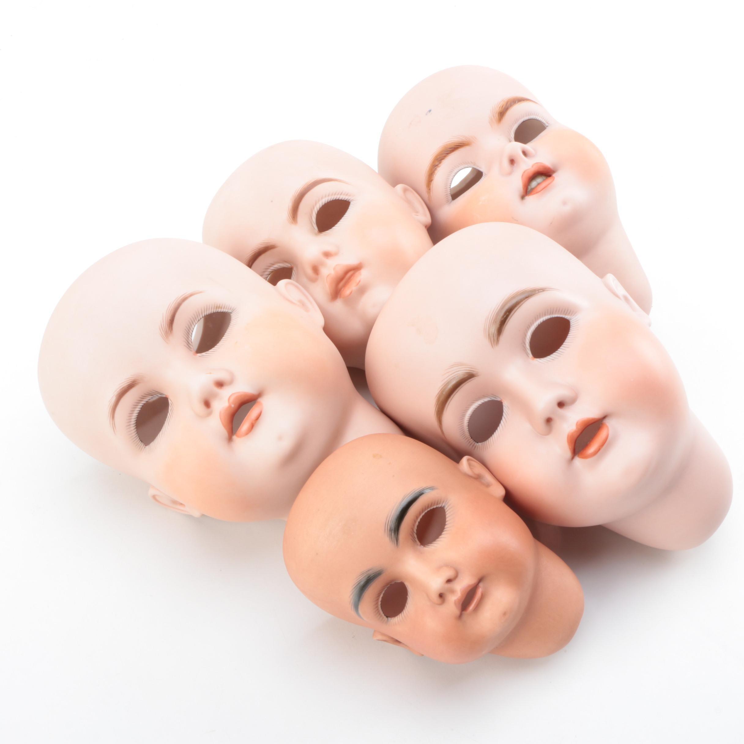 Vintage German Porcelain Doll Heads