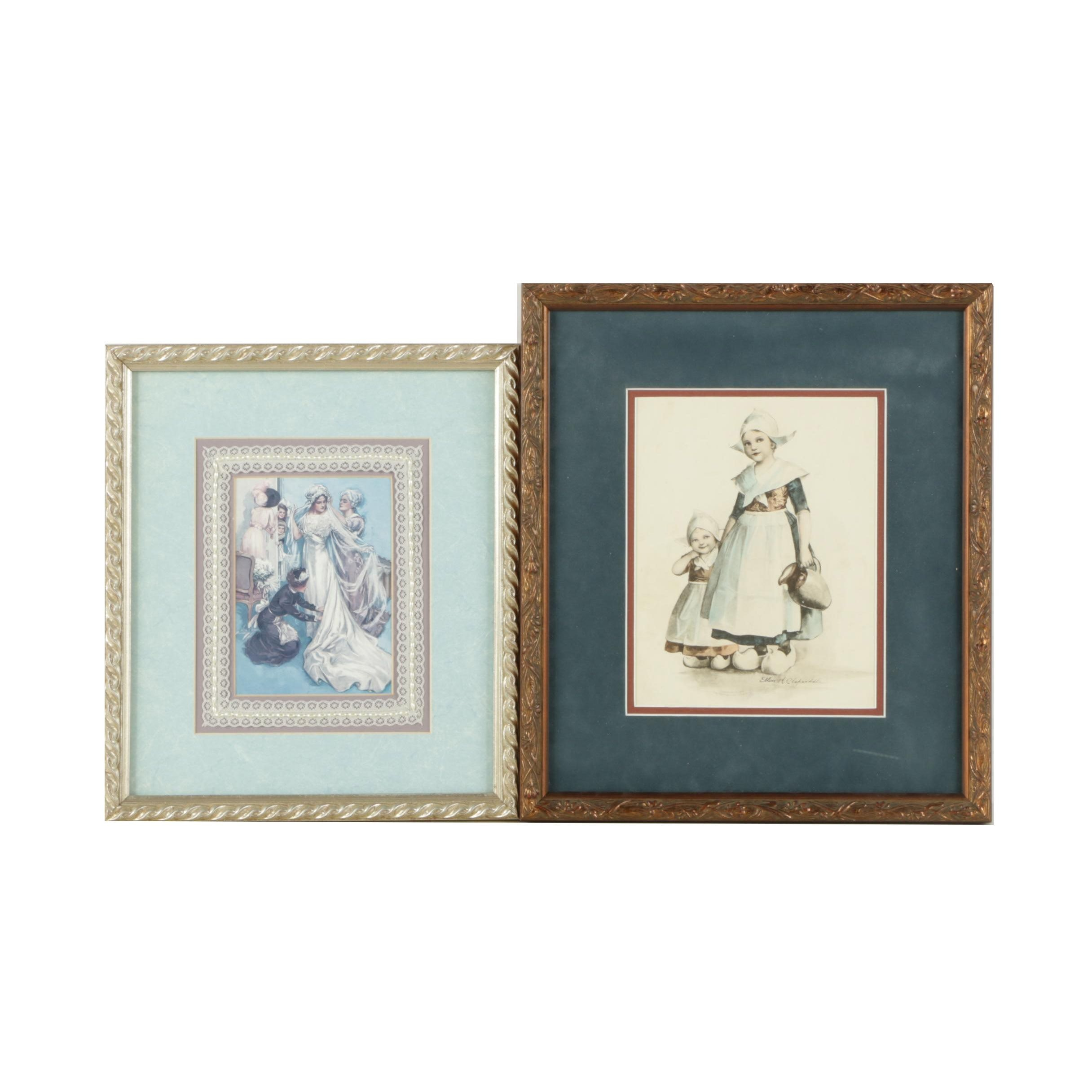 Reproduction Prints After Illustrations by Ellen Clapsaddle and Harrison Fisher