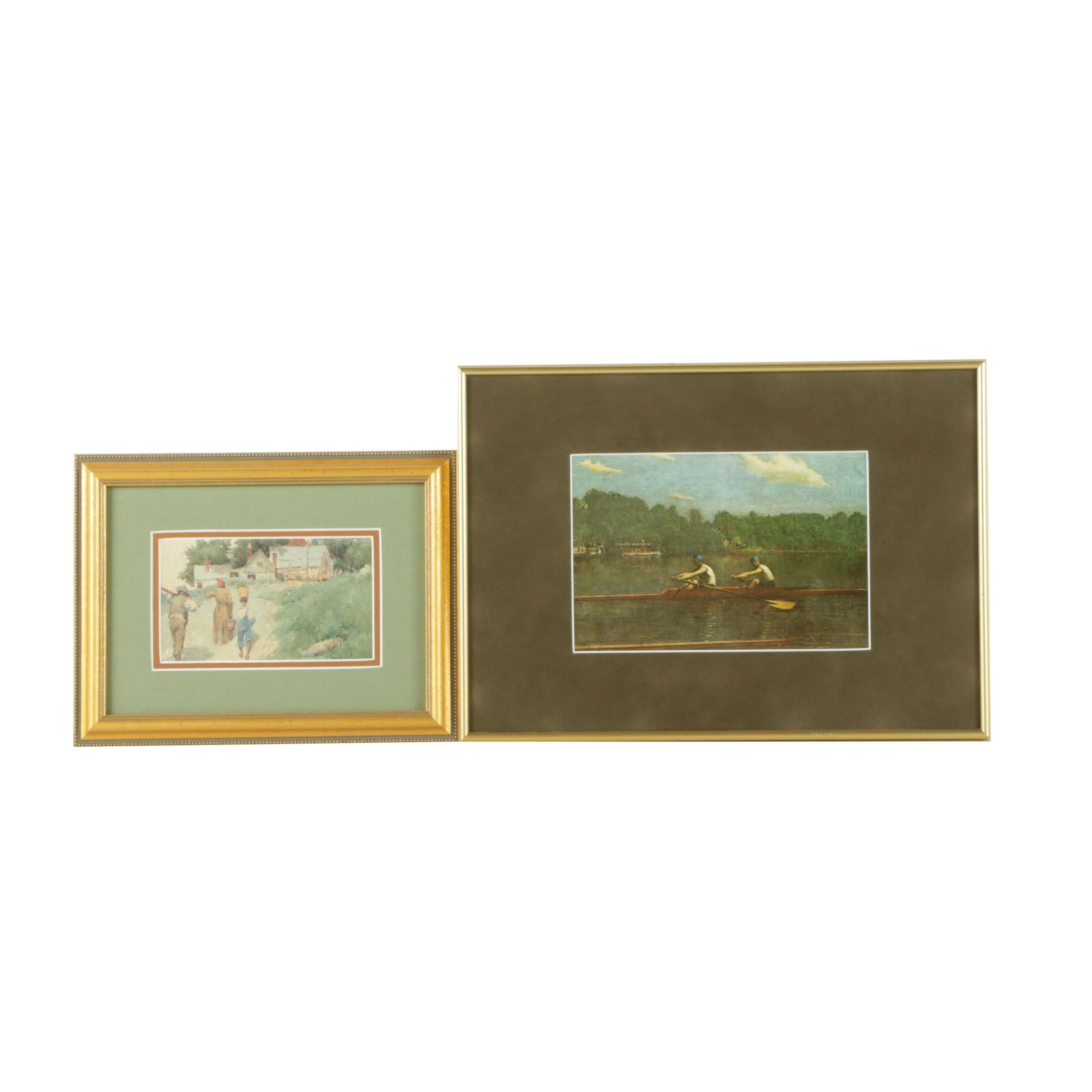 Pair Offset Lithographs of Genre Scenes