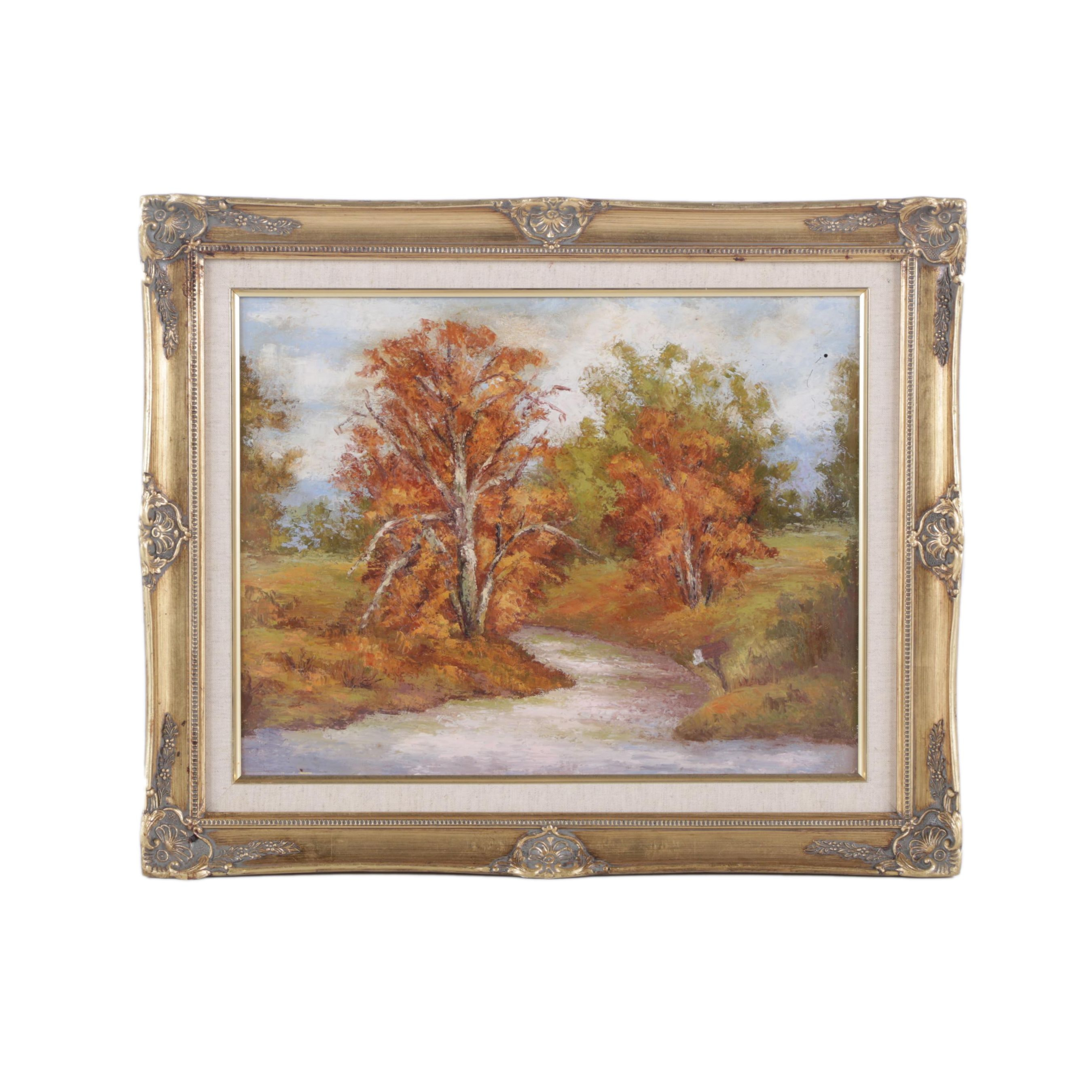 Oil Painting on Canvas Board of an Autumnal Landscape