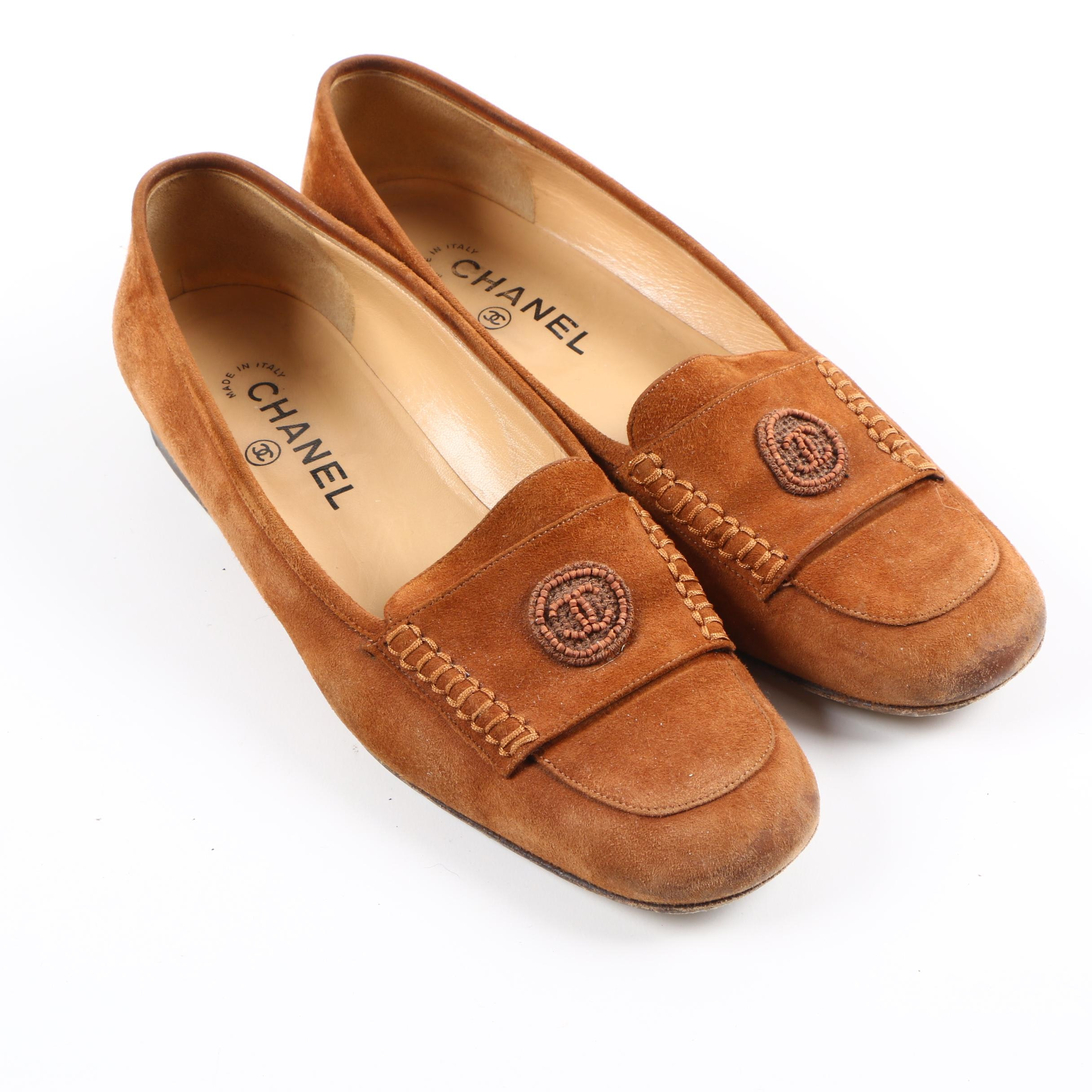 Women's Chanel Brown Suede Loafers