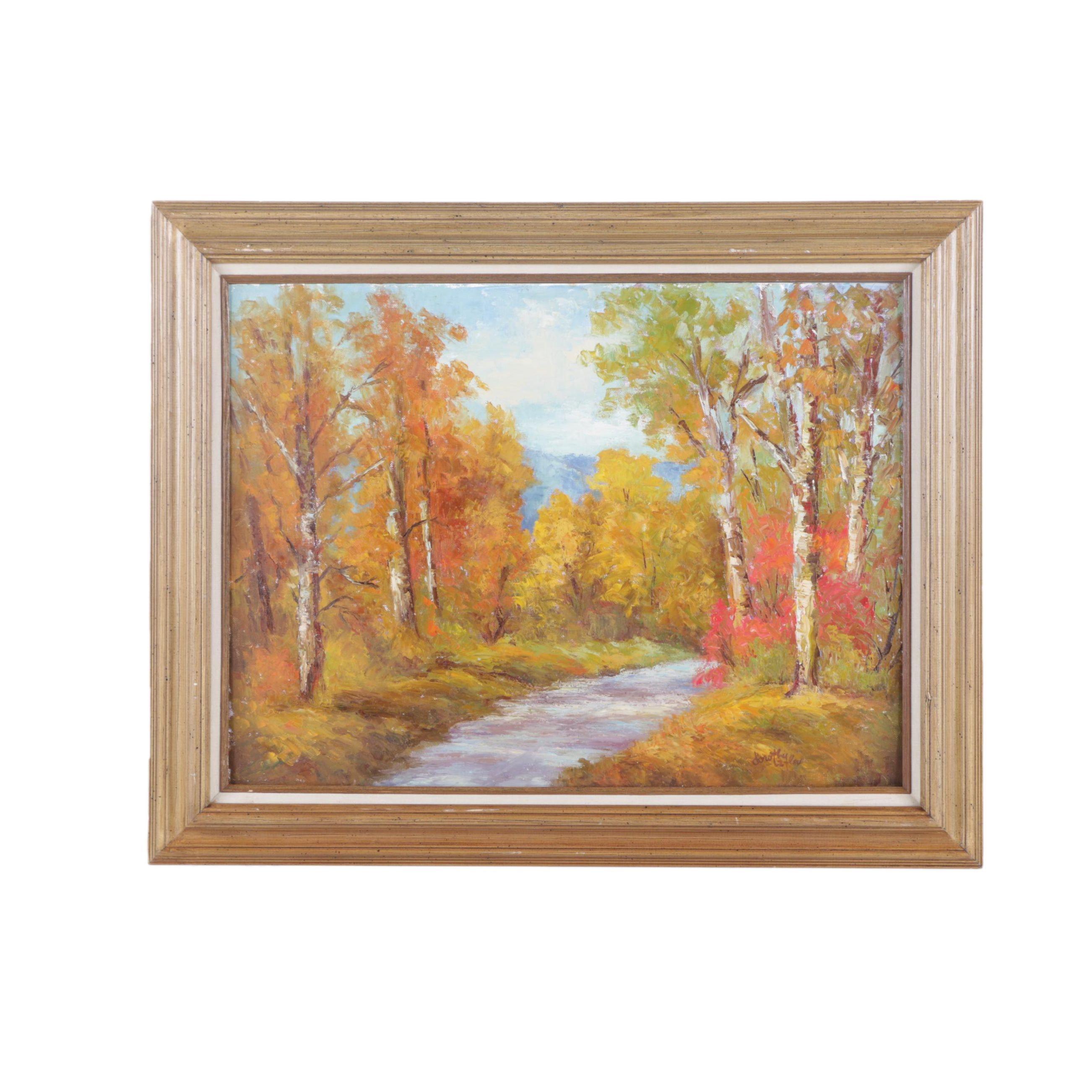 Dorothy Laflor Oil Painting on Canvas Board of Autumn Landscape