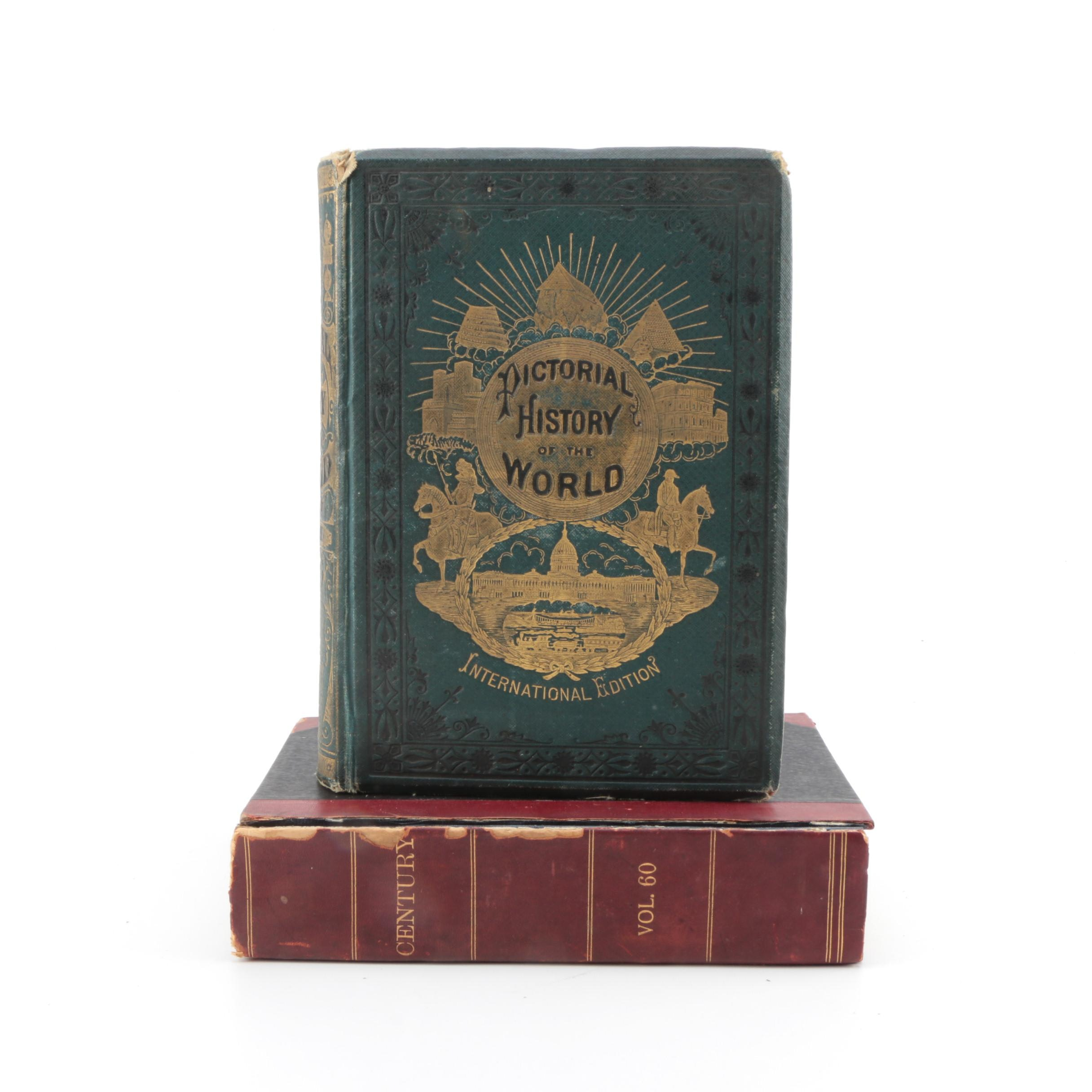 """1878 """"The Pictorial History of the World"""" and 1900 """"The Century"""" Bound Volume"""