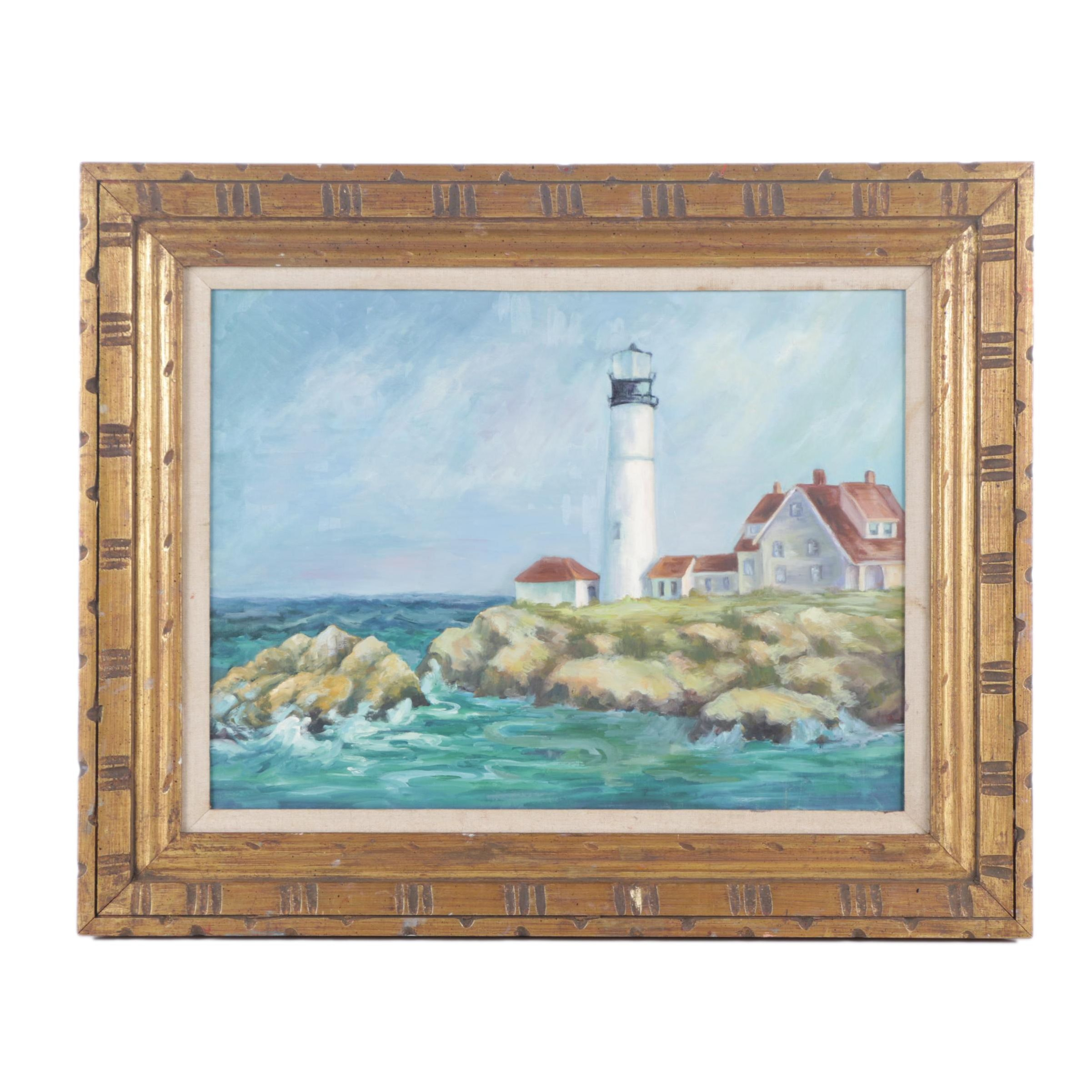 Oil Painting on Canvas Board of a Light House