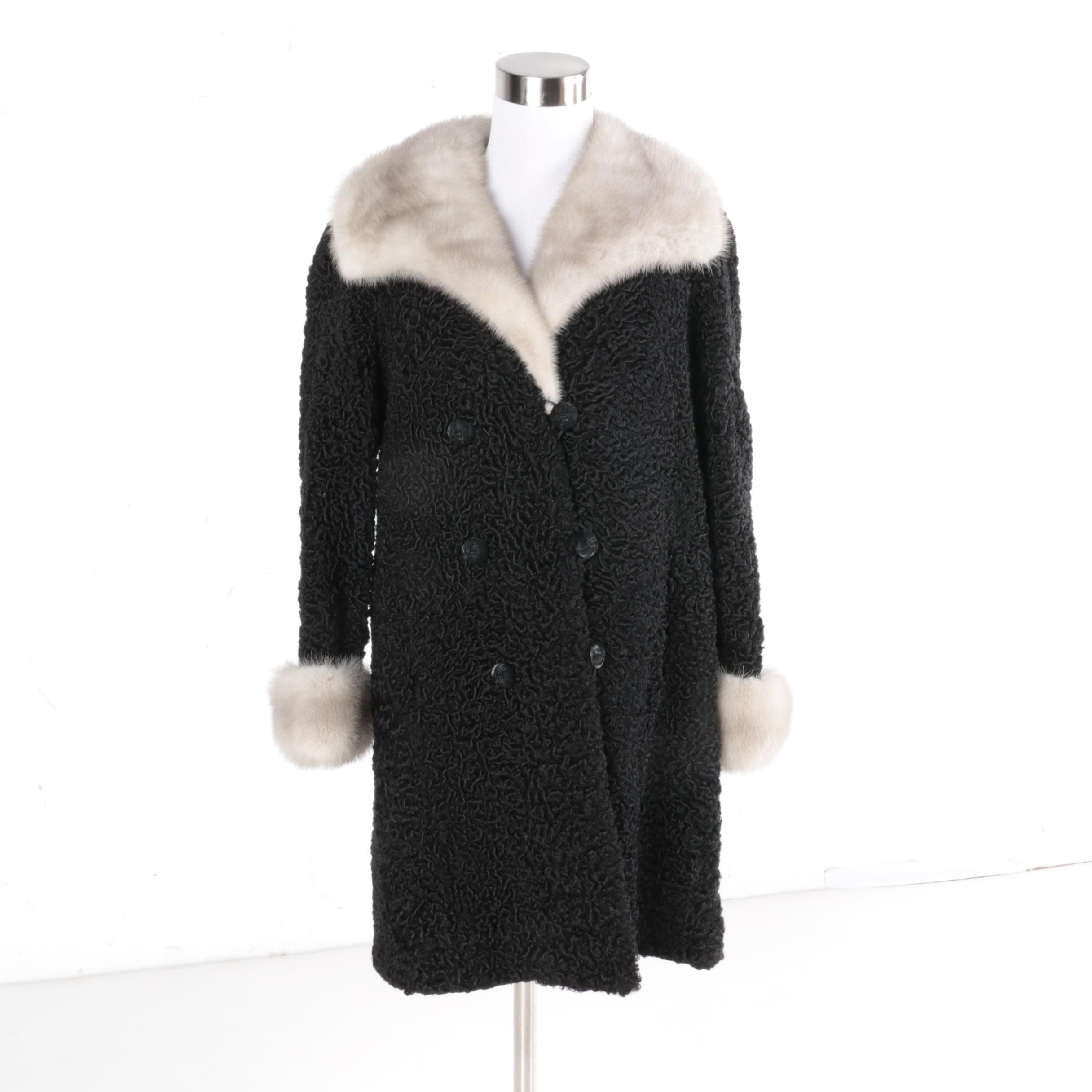 Vintage Swakara Lamb Fur Coat with Mink Fur Trim