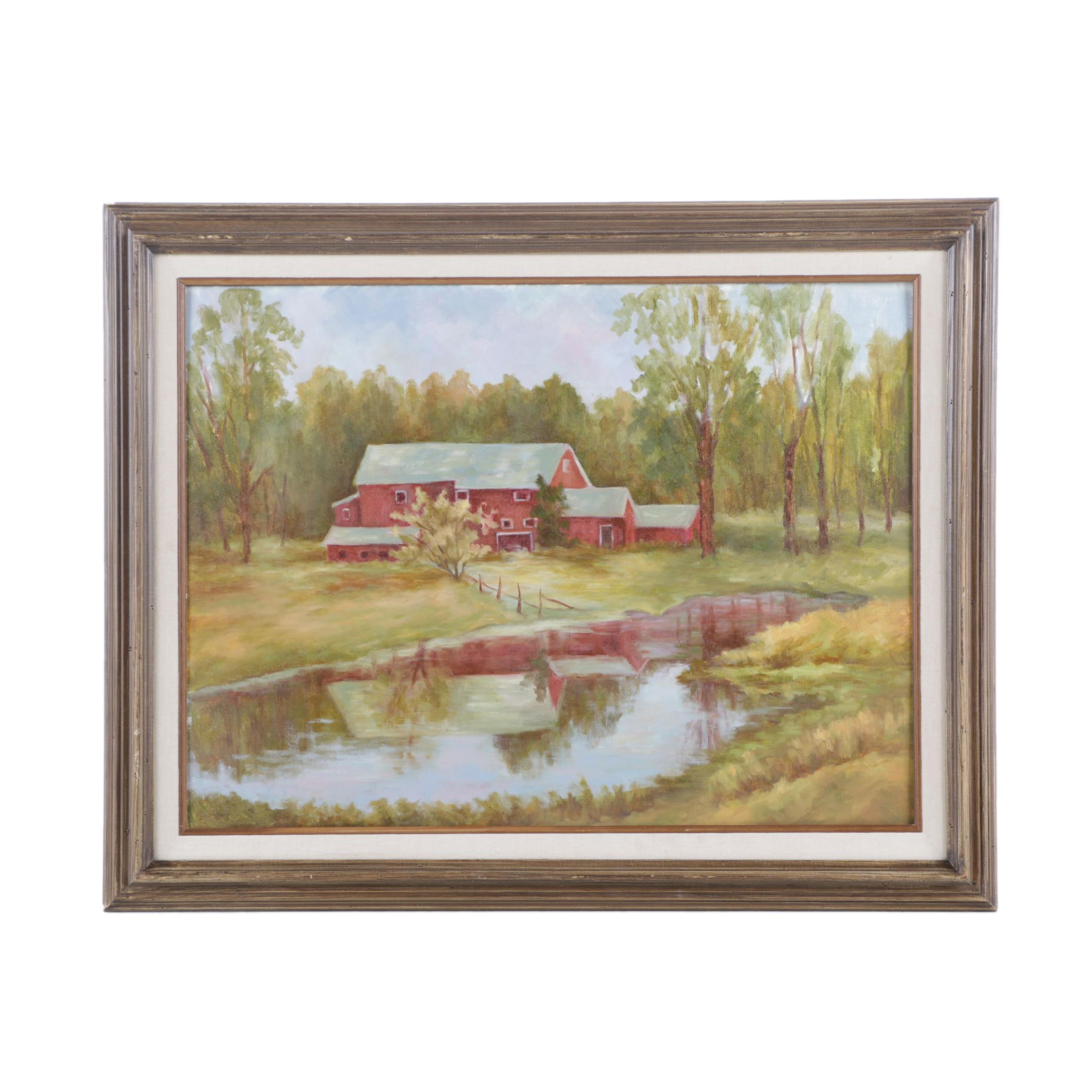 Oil Painting on Canvas Board of Barn