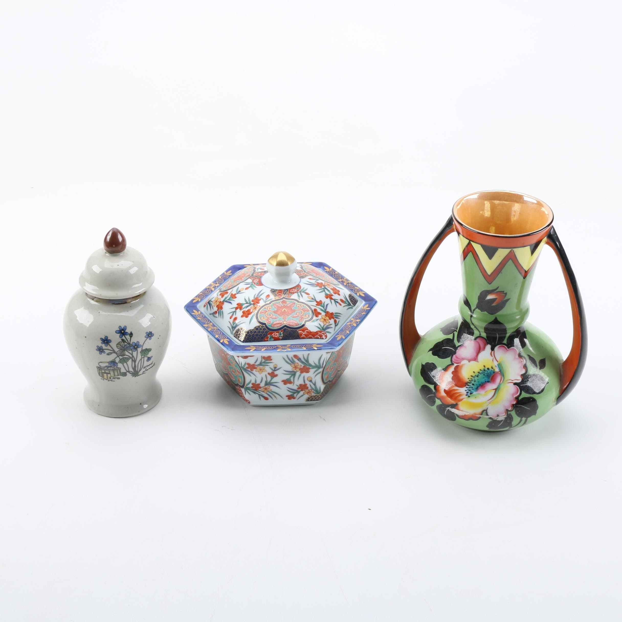 Three Pieces of Asian Inspired Ceramic Decor
