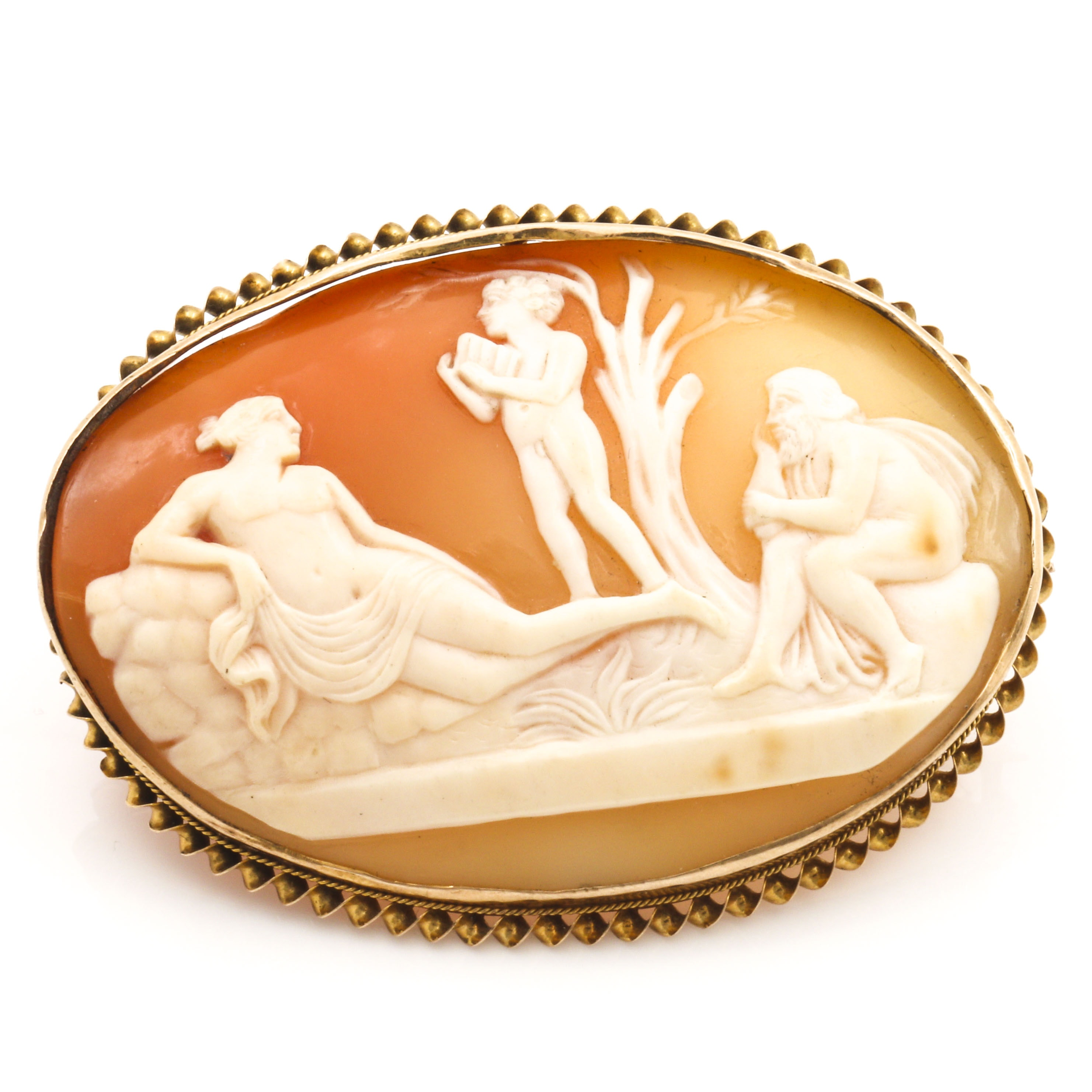 10K Yellow Gold Carved Shell Cameo Brooch