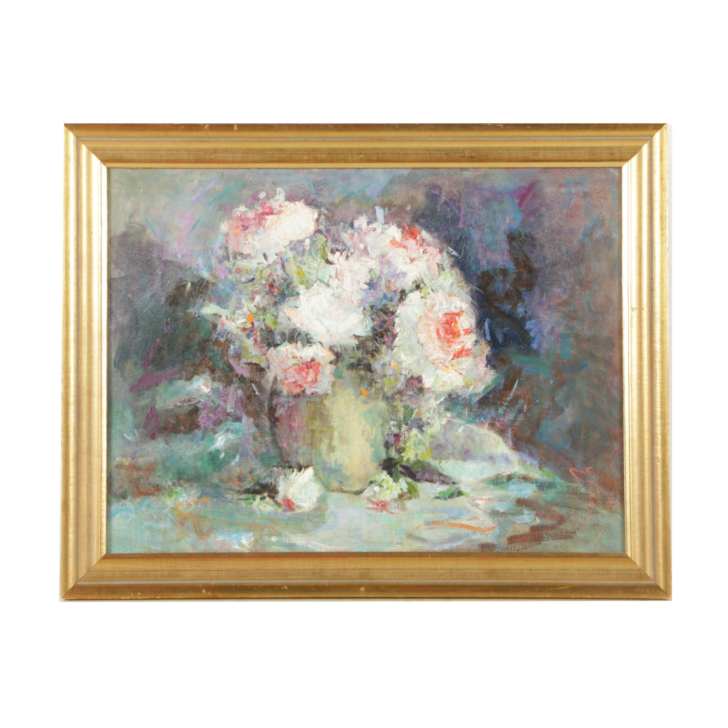 Emmalene Hall Tackett 1981 Oil Painting on Canvas Floral Still Life