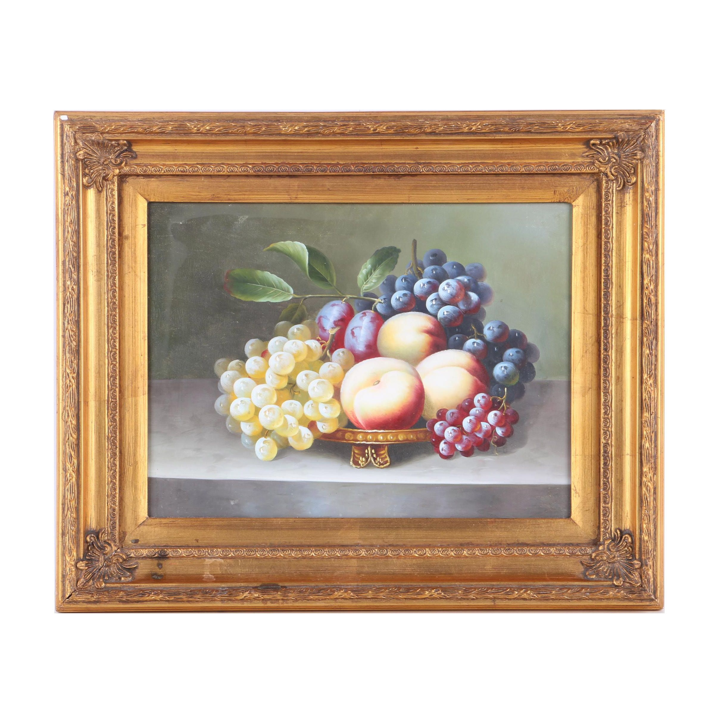 Oil Painting on Canvas of a Still Life with Fruit