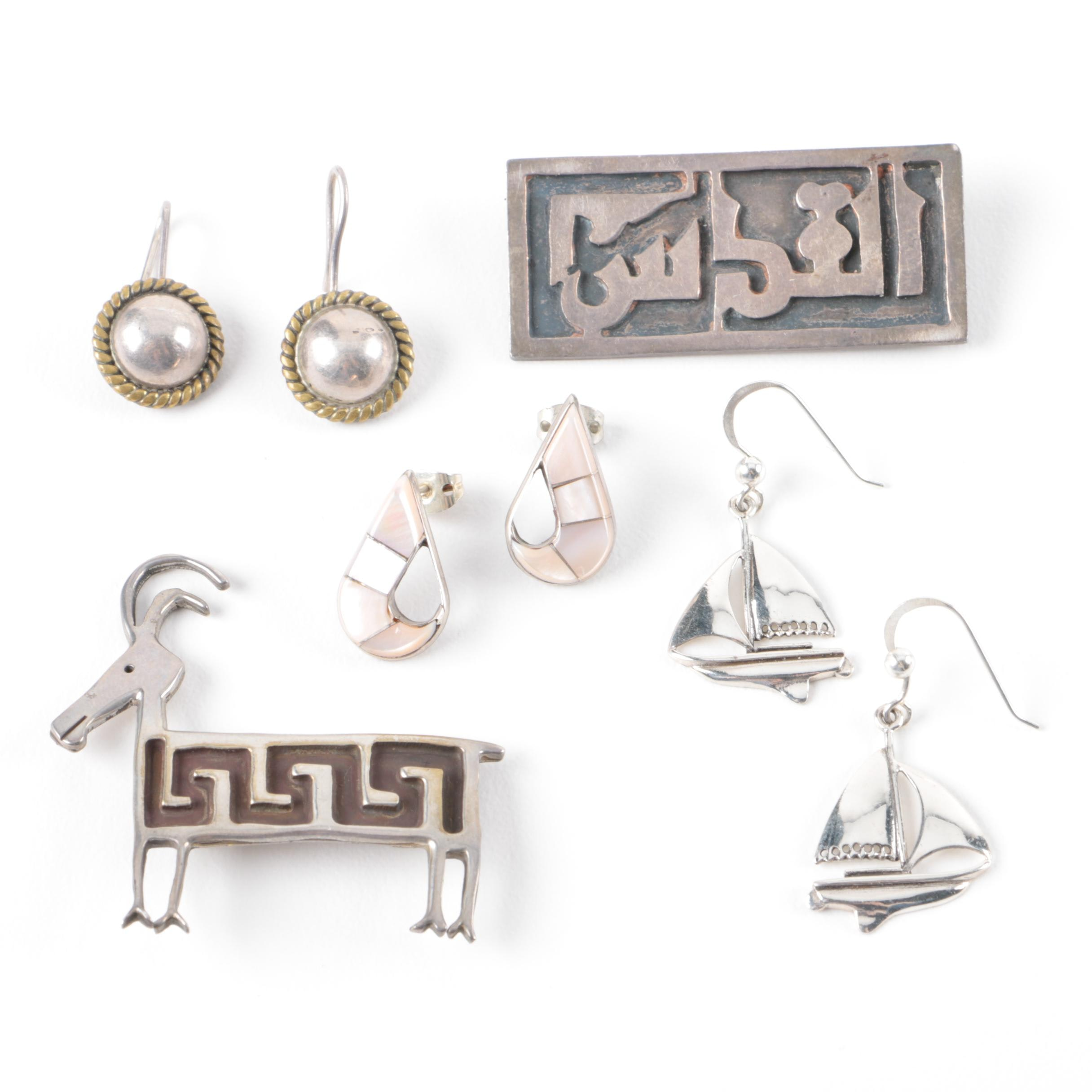 Sterling Silver Brooches and Earrings Including A. Stanetzky