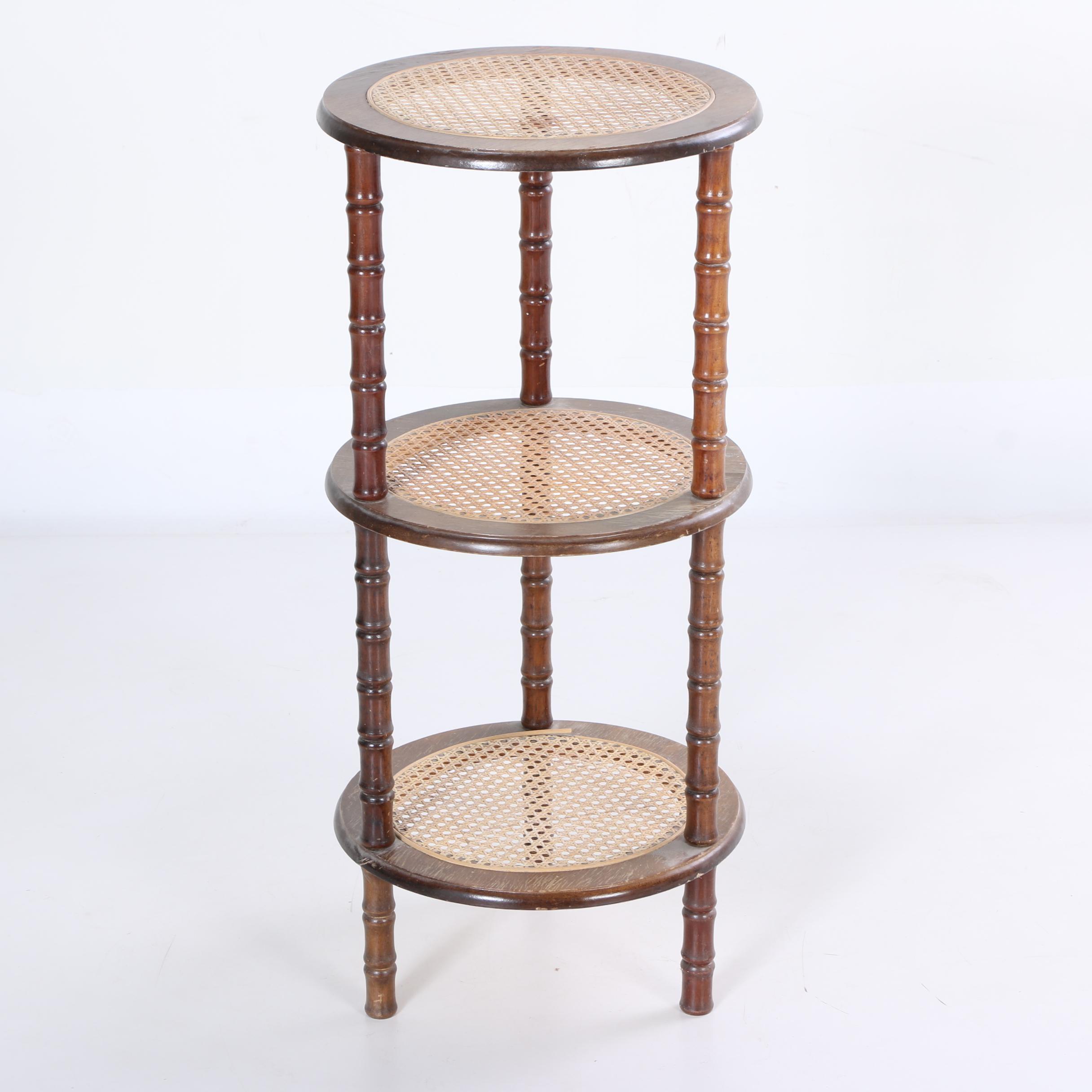 Vintage Three Tiered End Table