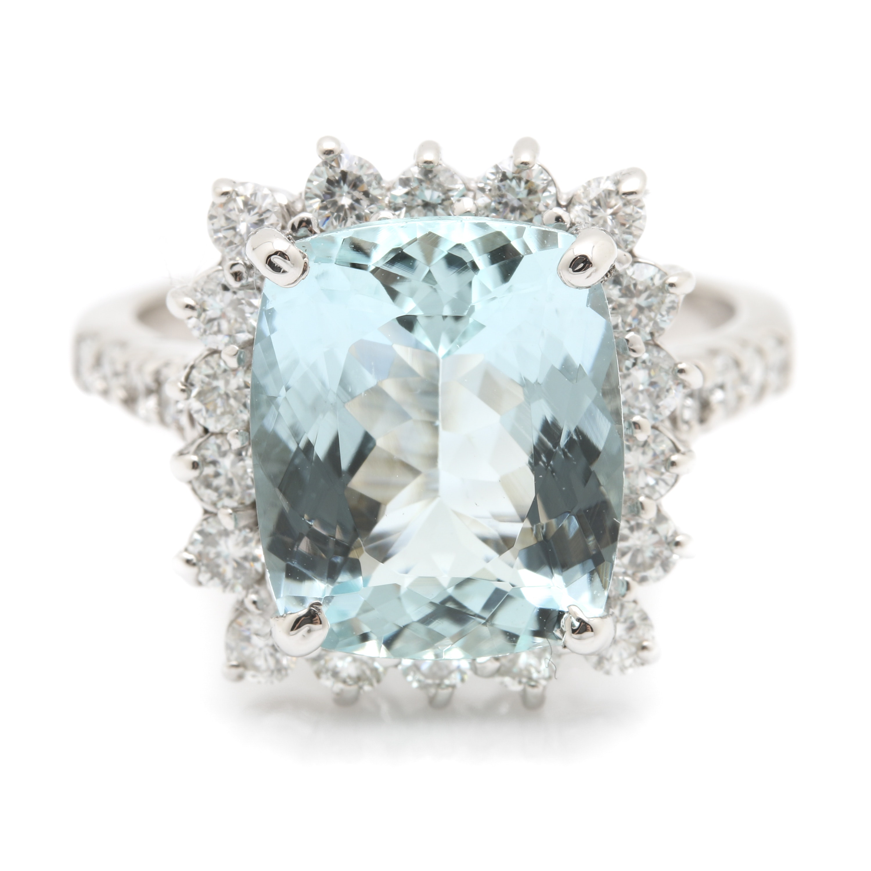 14K White Gold 4.57 CT Aquamarine and Diamond Ring