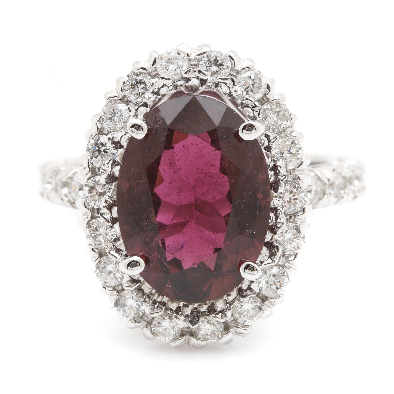 18K White Gold 4.82 CT Purple Tourmaline and 0.98 CTW Diamond Ring