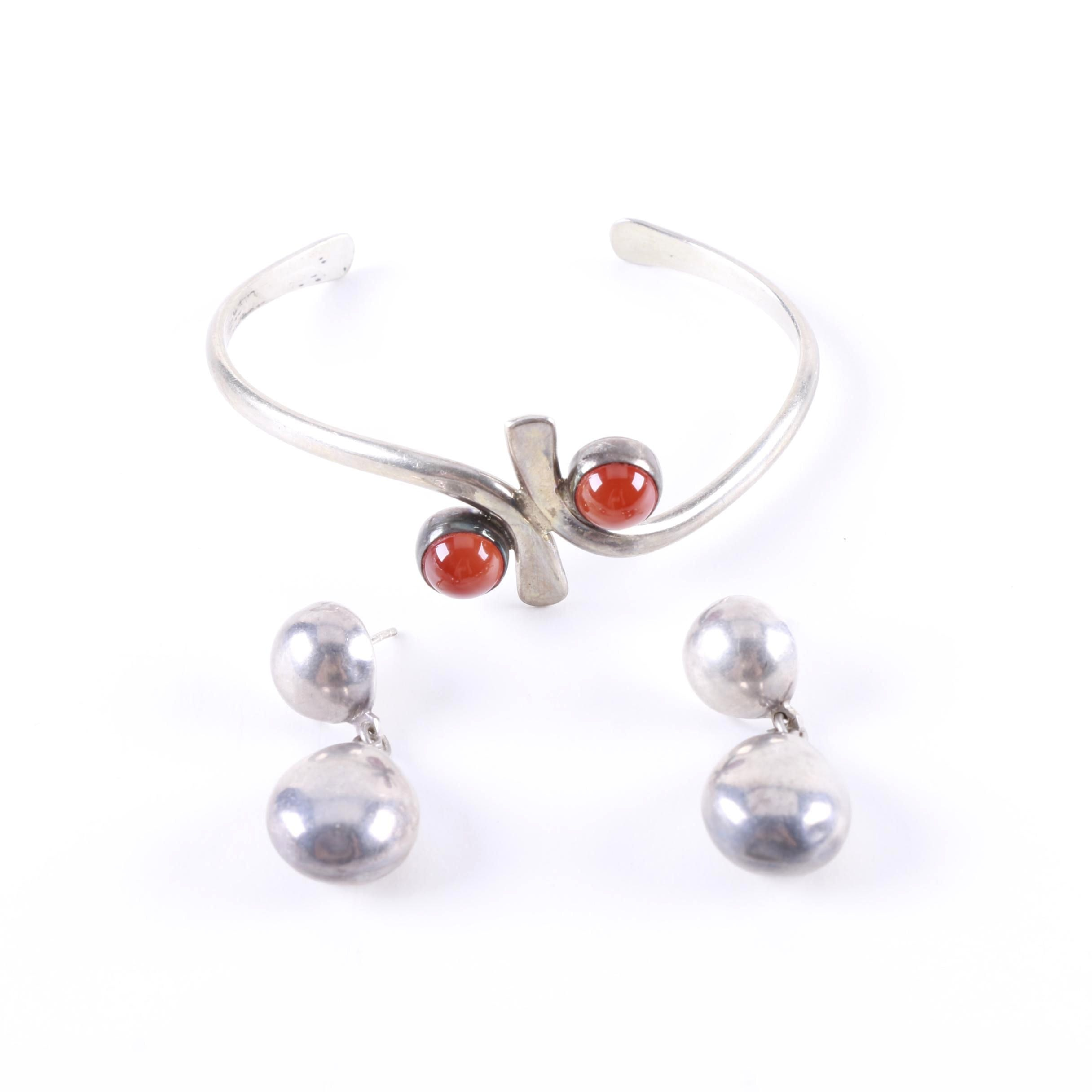 Sterling Bracelet with Carnelian Cabochons and Silver Earrings