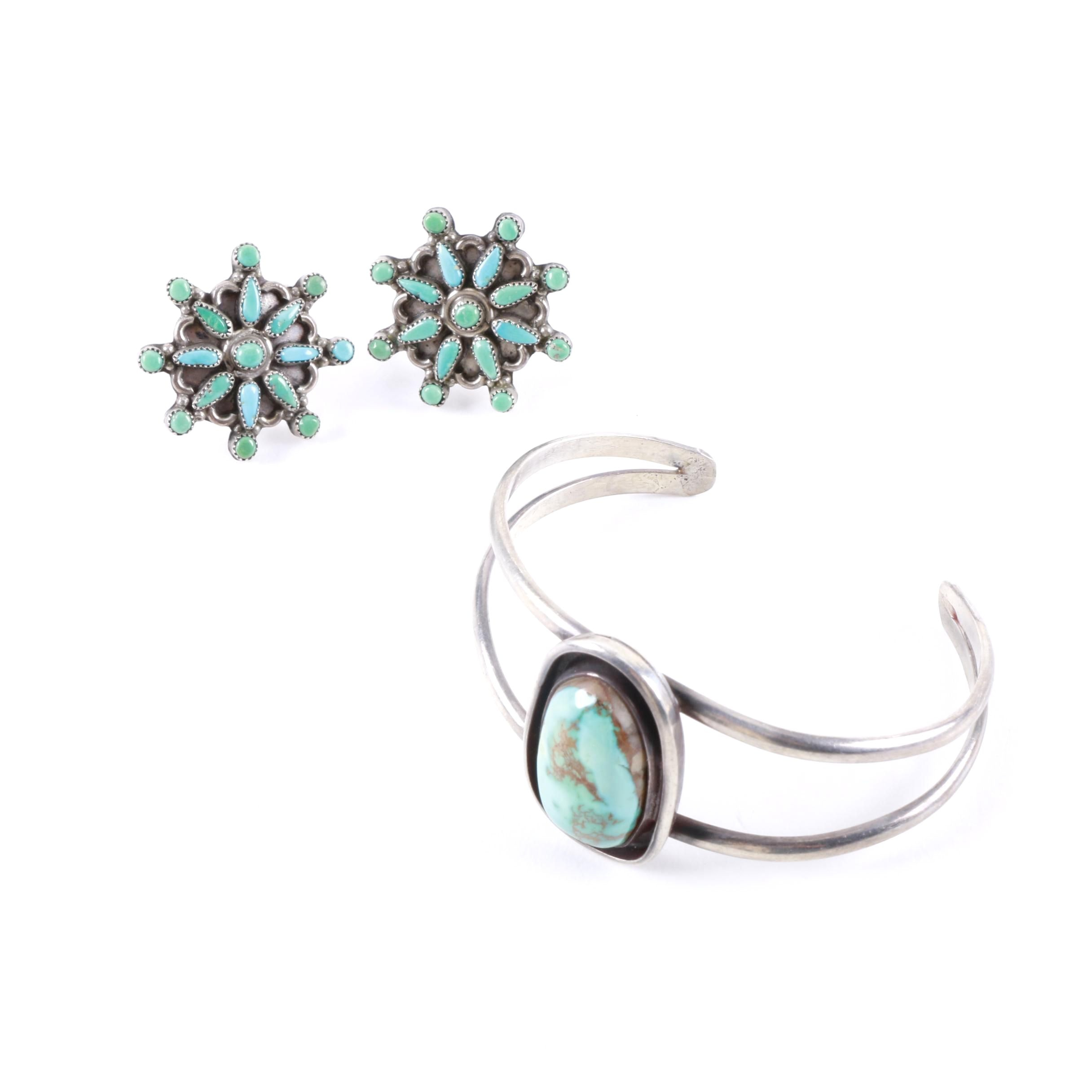 Southwest Style Sterling Silver and Turquoise Bracelet and Earrings
