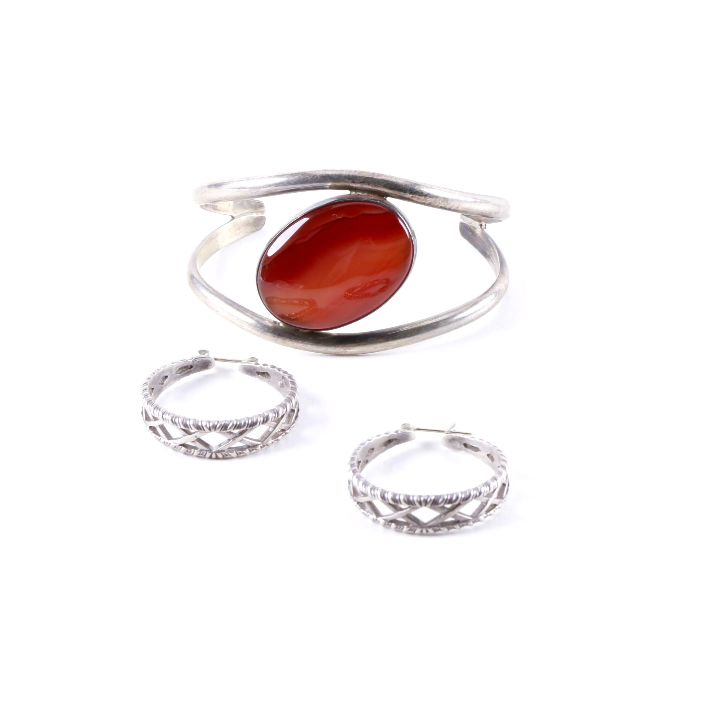 Sterling Silver Earrings and Bracelet Featuring Agate