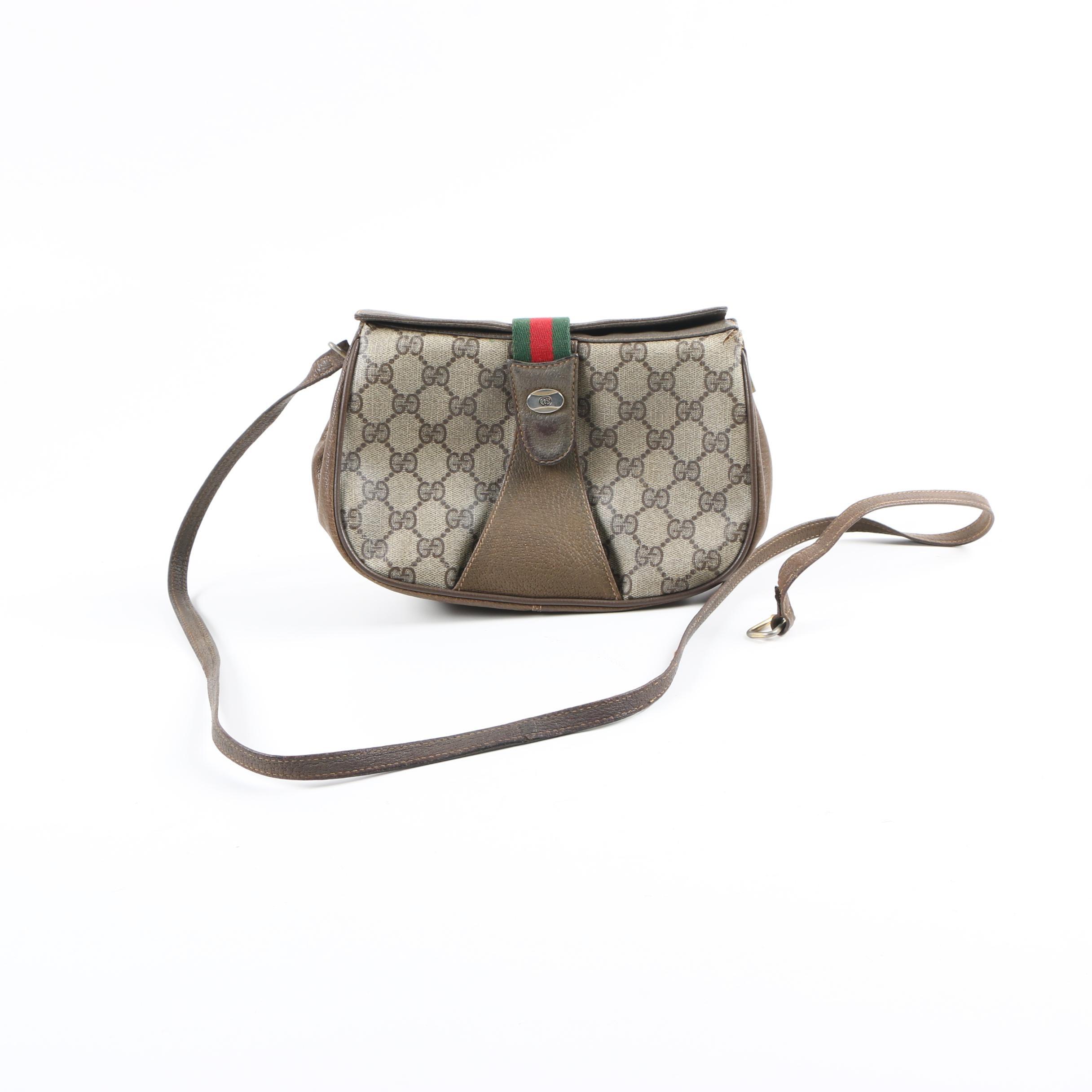 Vintage Gucci GG Supreme Canvas Monogram Web Detail Crossbody