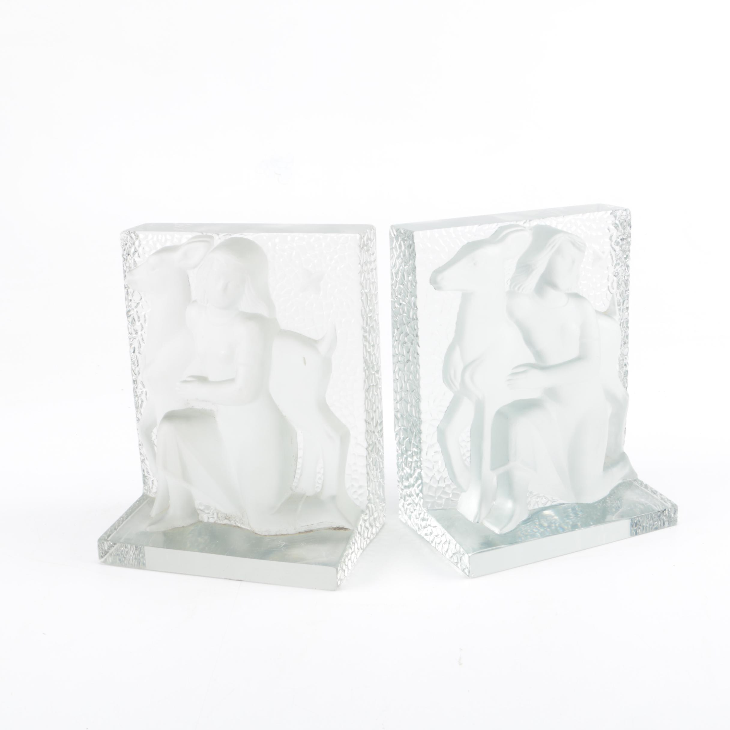 Verlys Signed Figure with Deer Glass Bookends