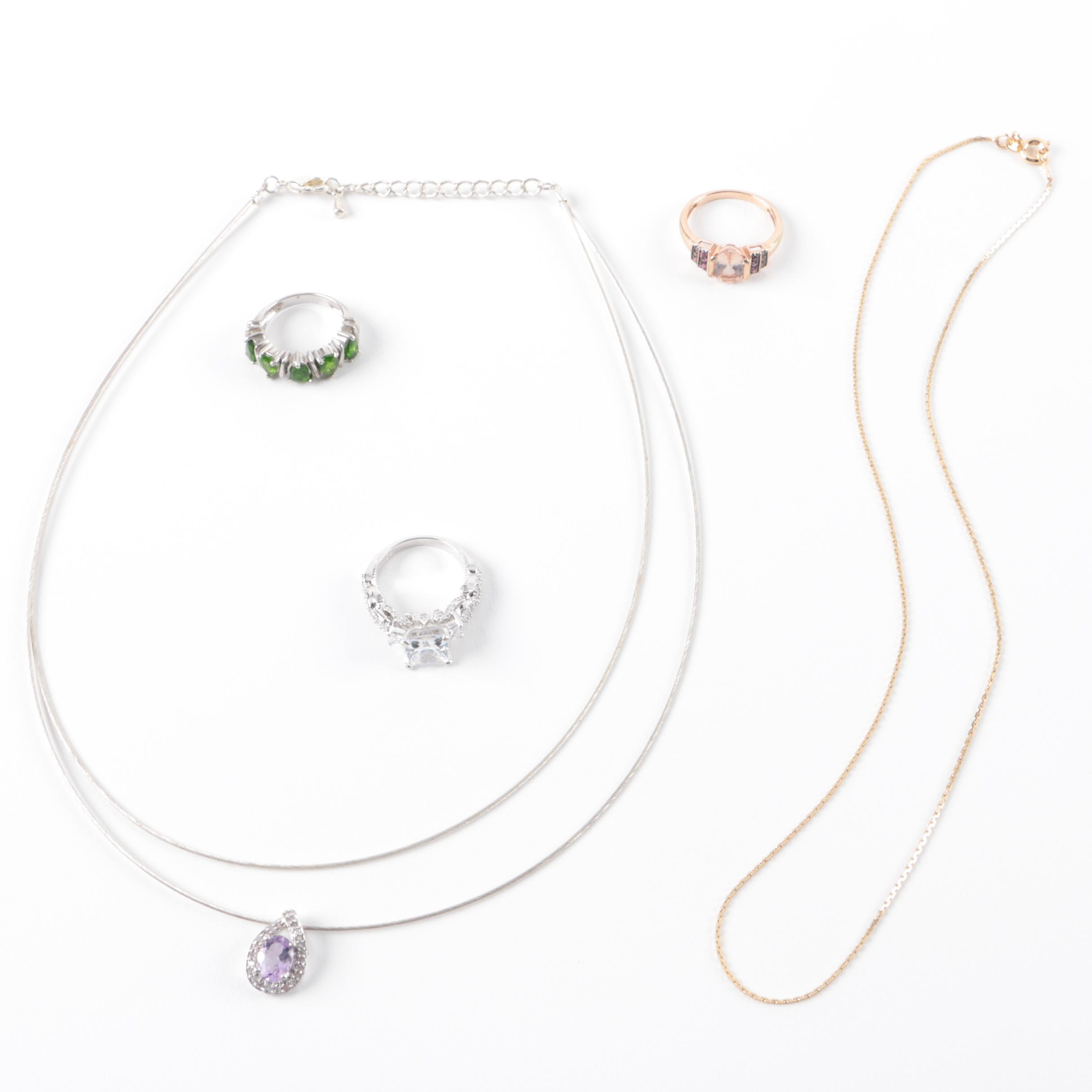 Costume Jewelry Assortment Including 10K Gold Amethyst and Diamond Pendant