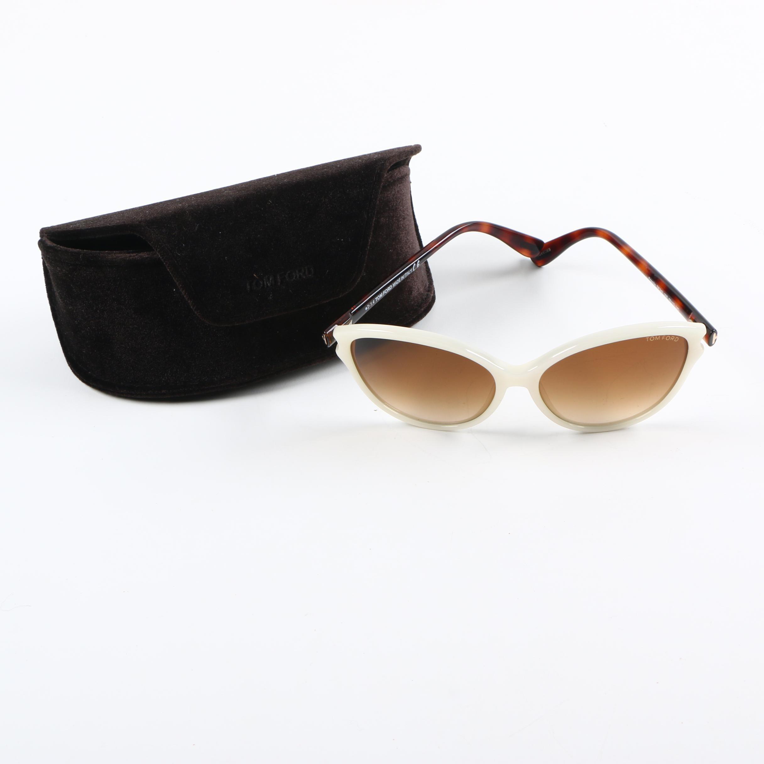 Tom Ford Priscila White Iridescent Cat Eye Sunglasses
