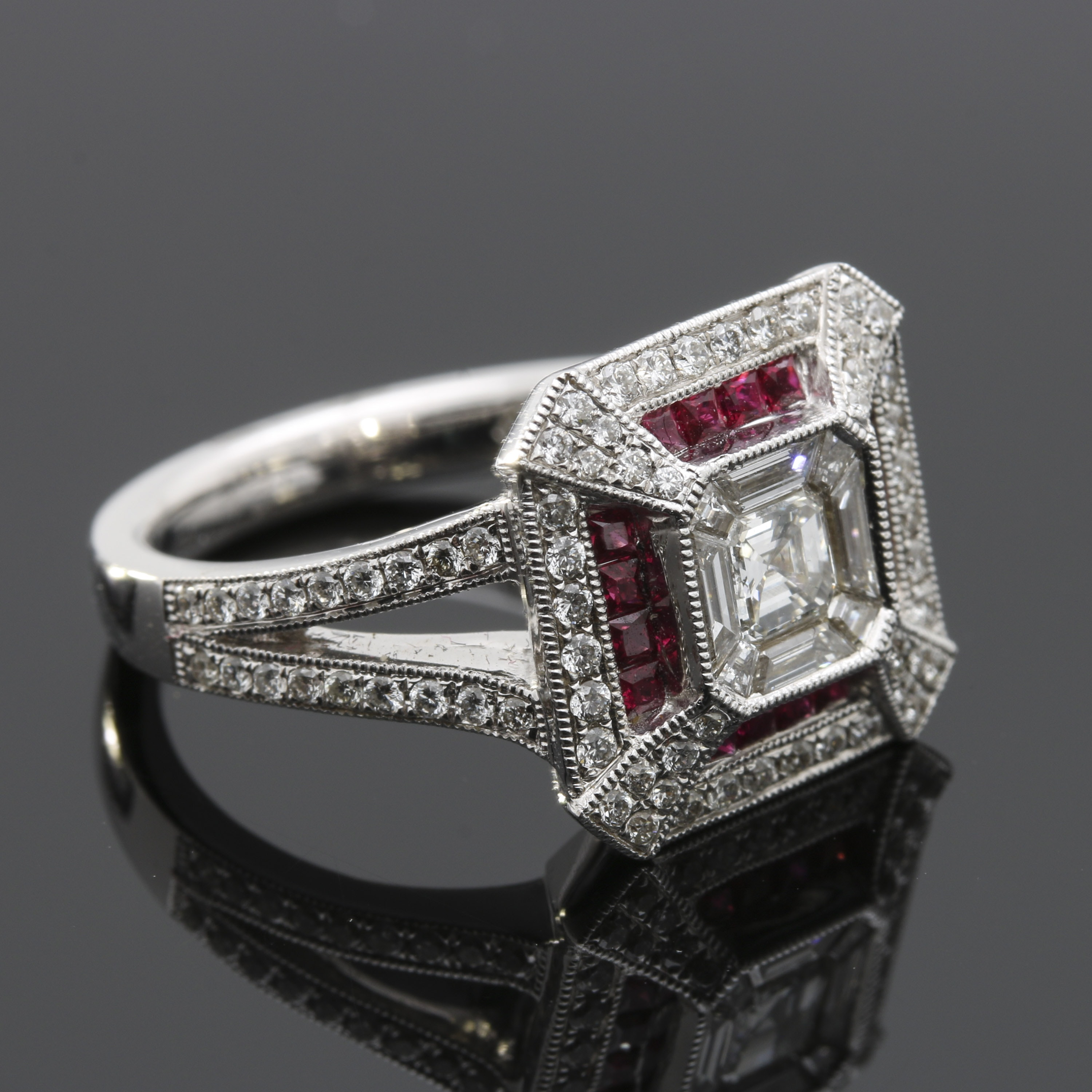 18K White Gold Ruby and 0.91 CTW Diamond Ring
