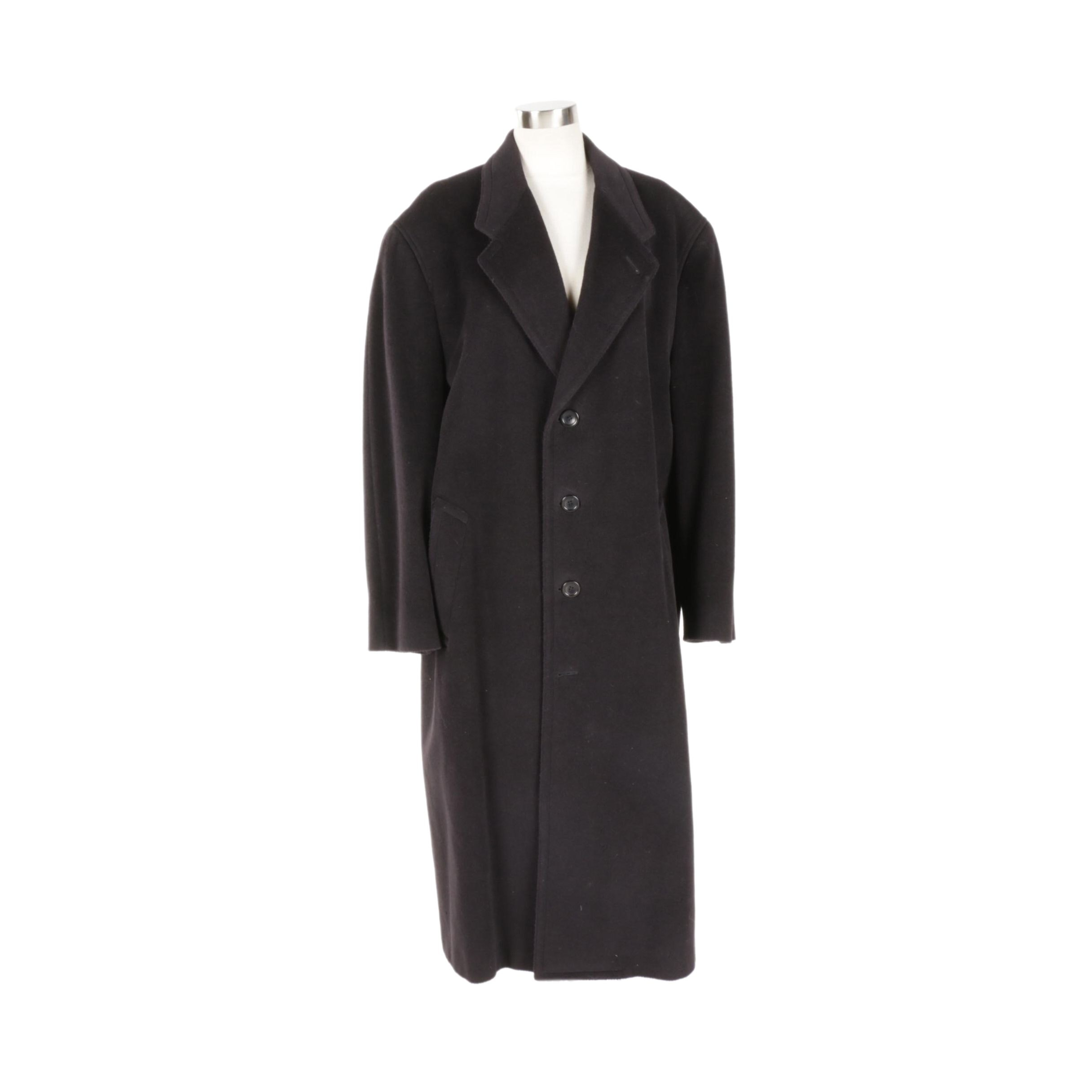 Men's Canali Proposta Black Wool Blend Coat