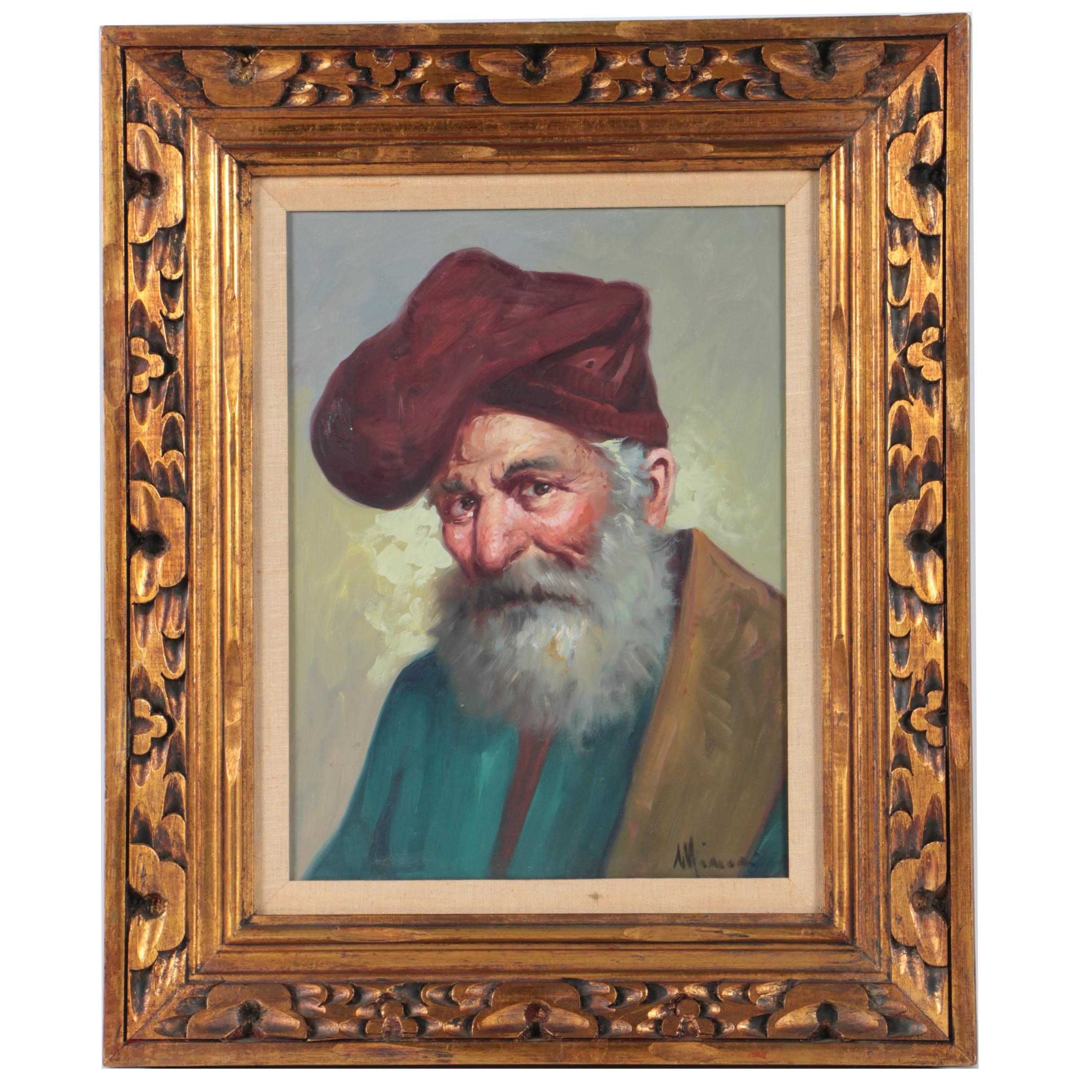 Minori Oil Painting on Canvas of Portrait of Bearded Figure