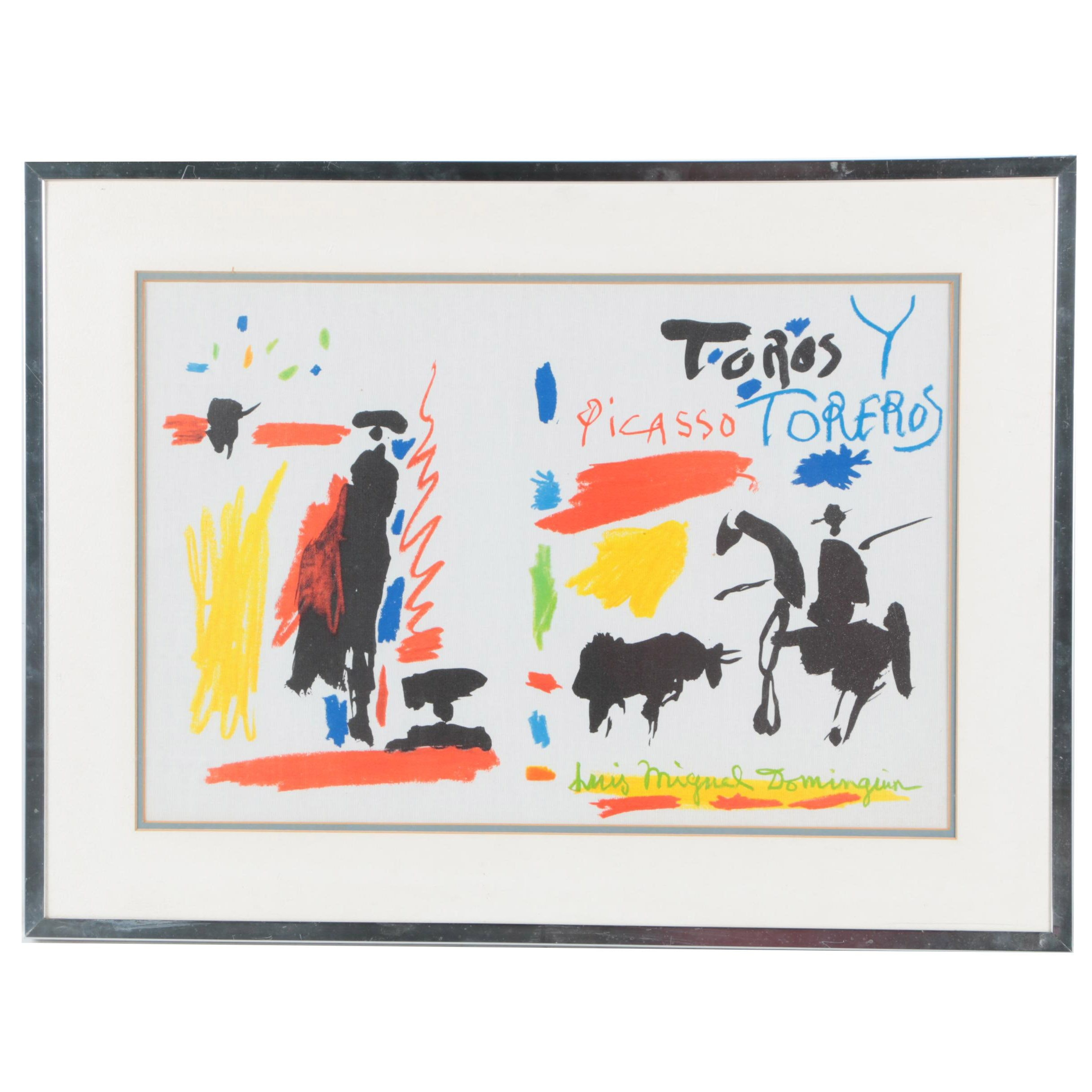 """Offset Lithograph on Canvas After Pablo Picasso from """"Toros y Toreros"""" Folio"""