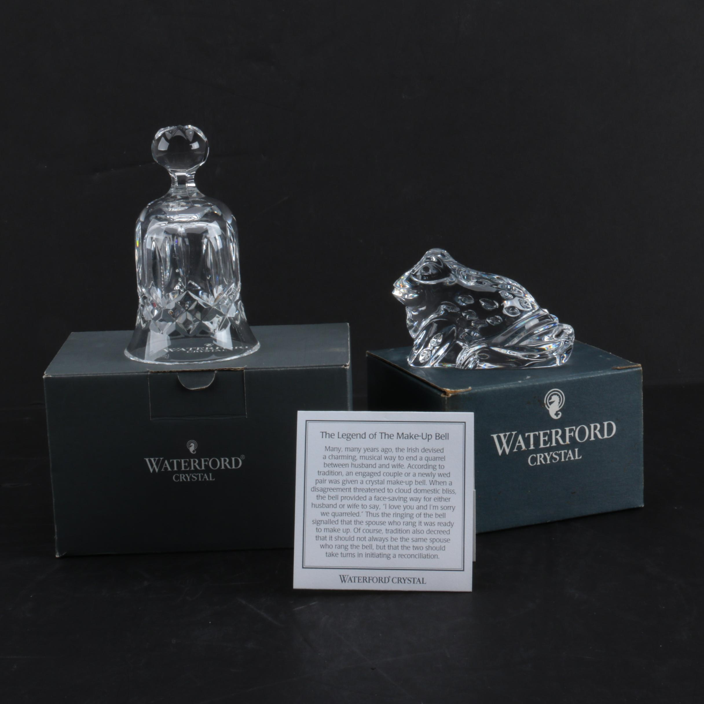 Waterford Crystal Hand Bell and Figurative Paperweight