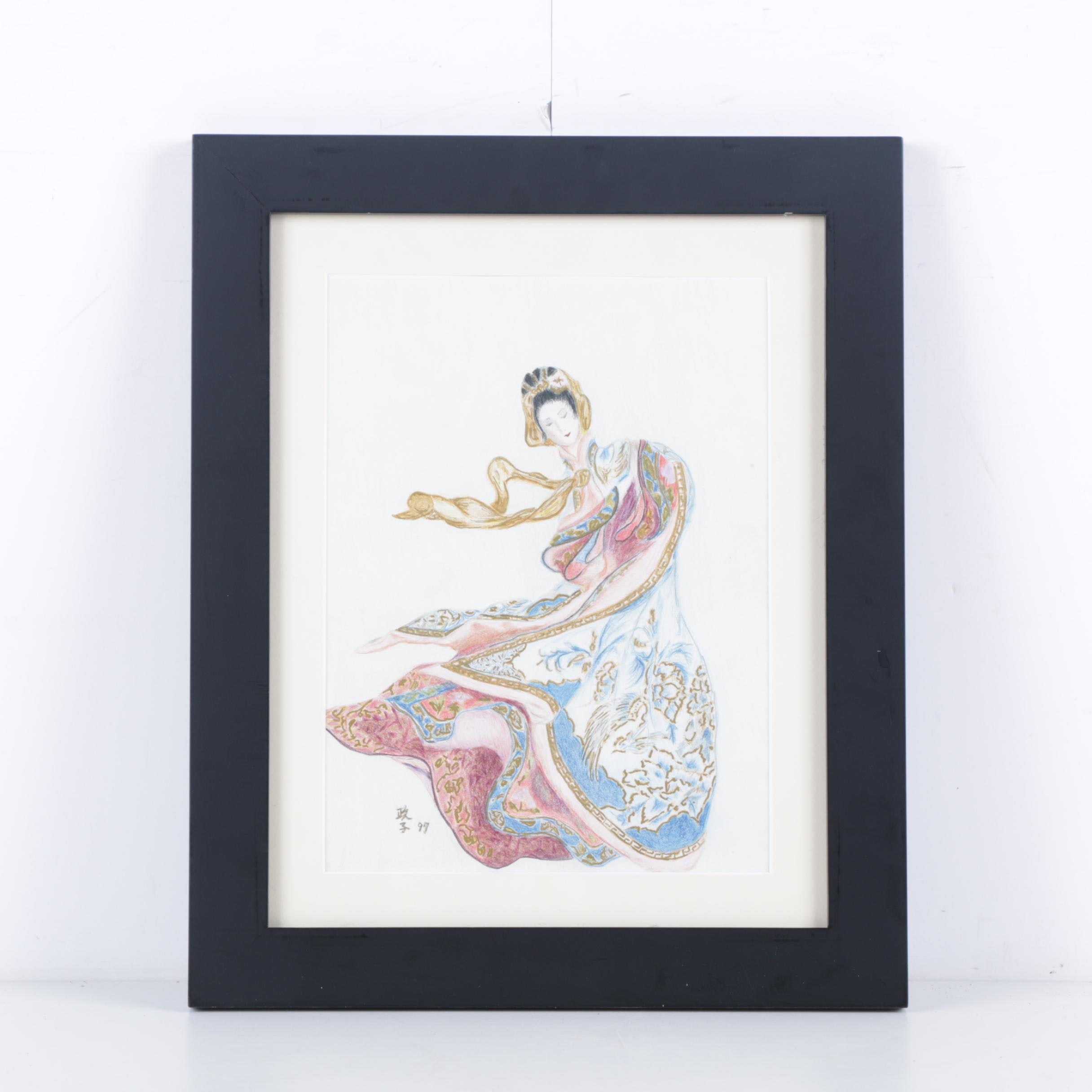 Colored Pencil Drawing on Paper of East Asian Inspired Figure