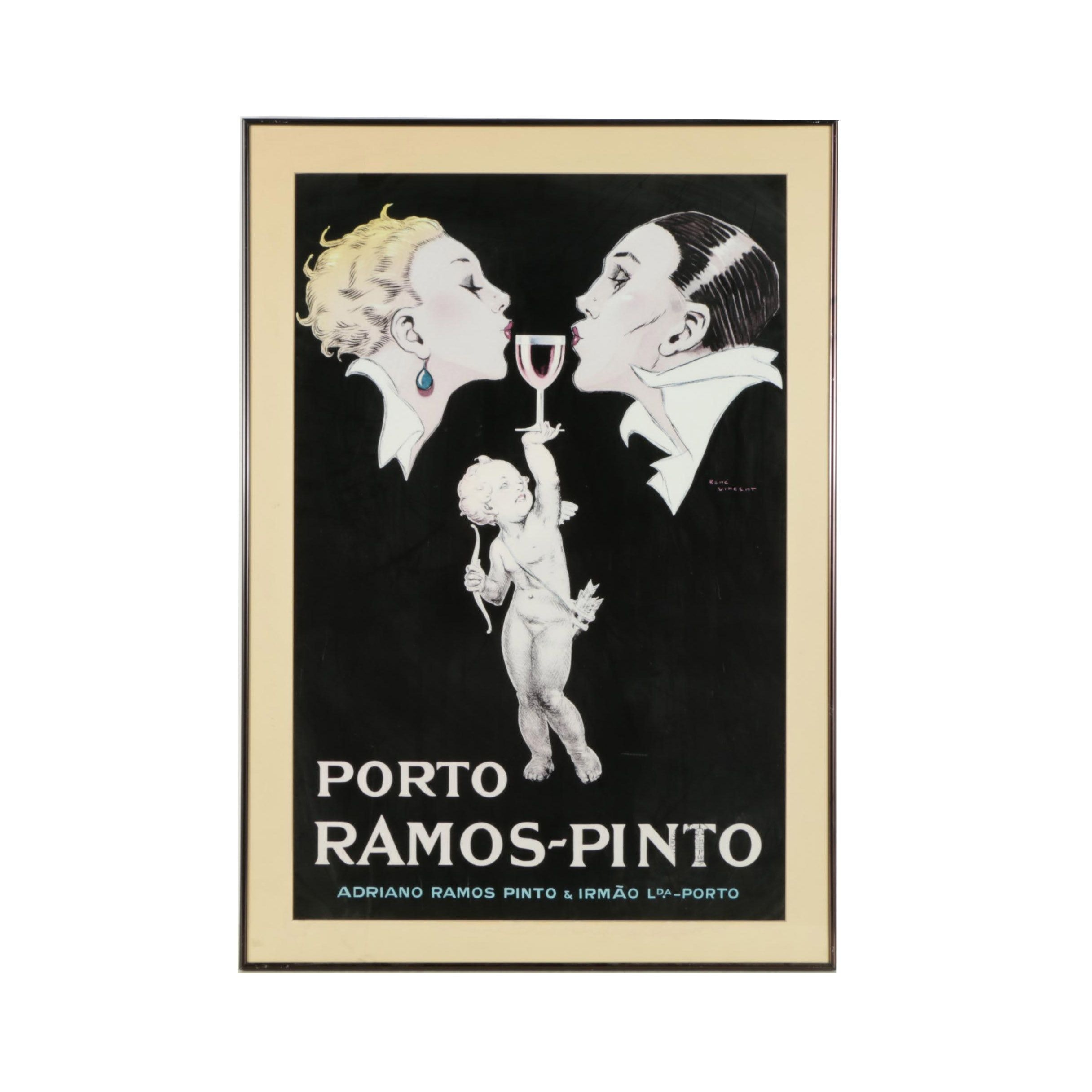 "Offset Lithograph After René Vincent ""Porto Ramos Pinto"" Advertising Poster"