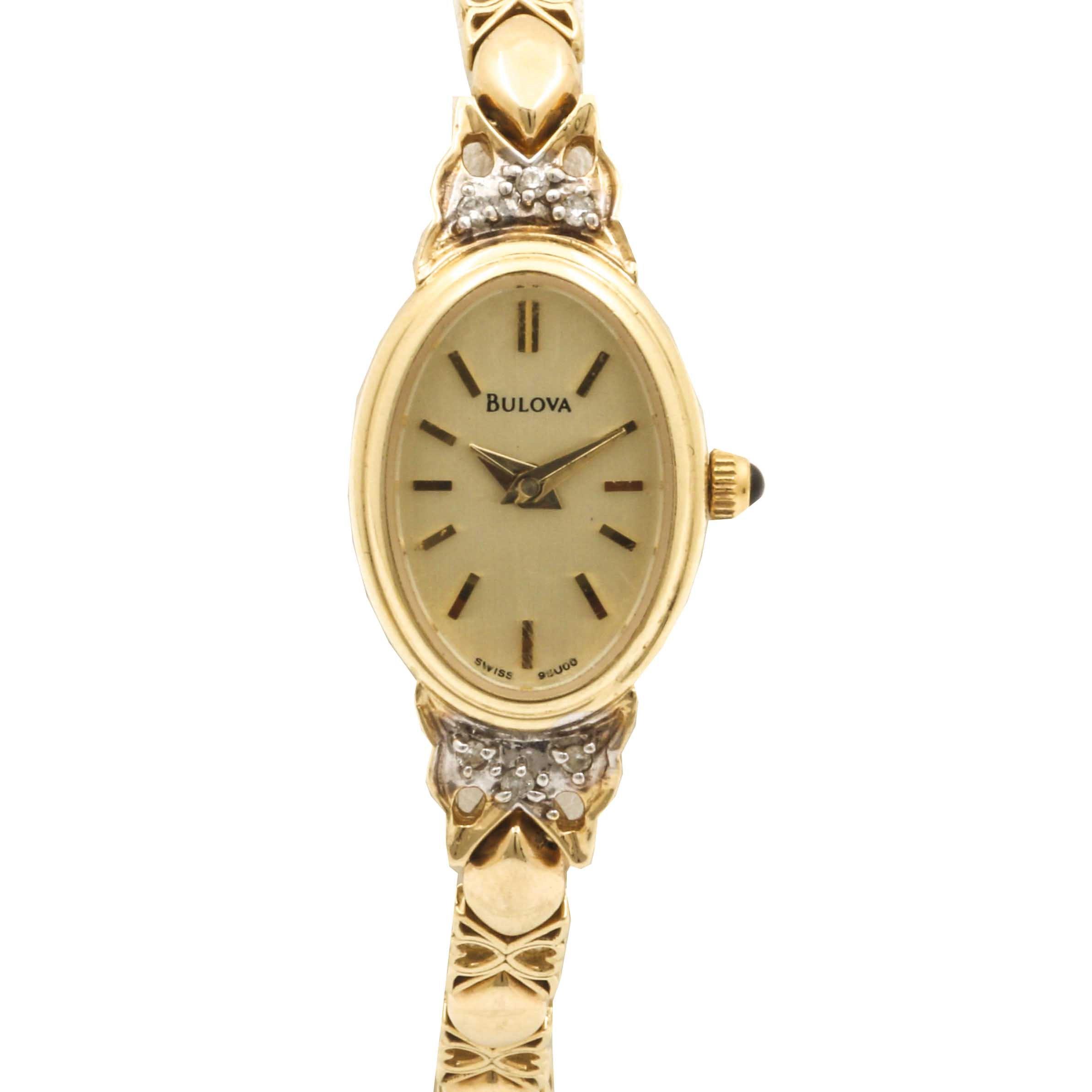 Bulova 14K Yellow Gold Diamond Wristwatch