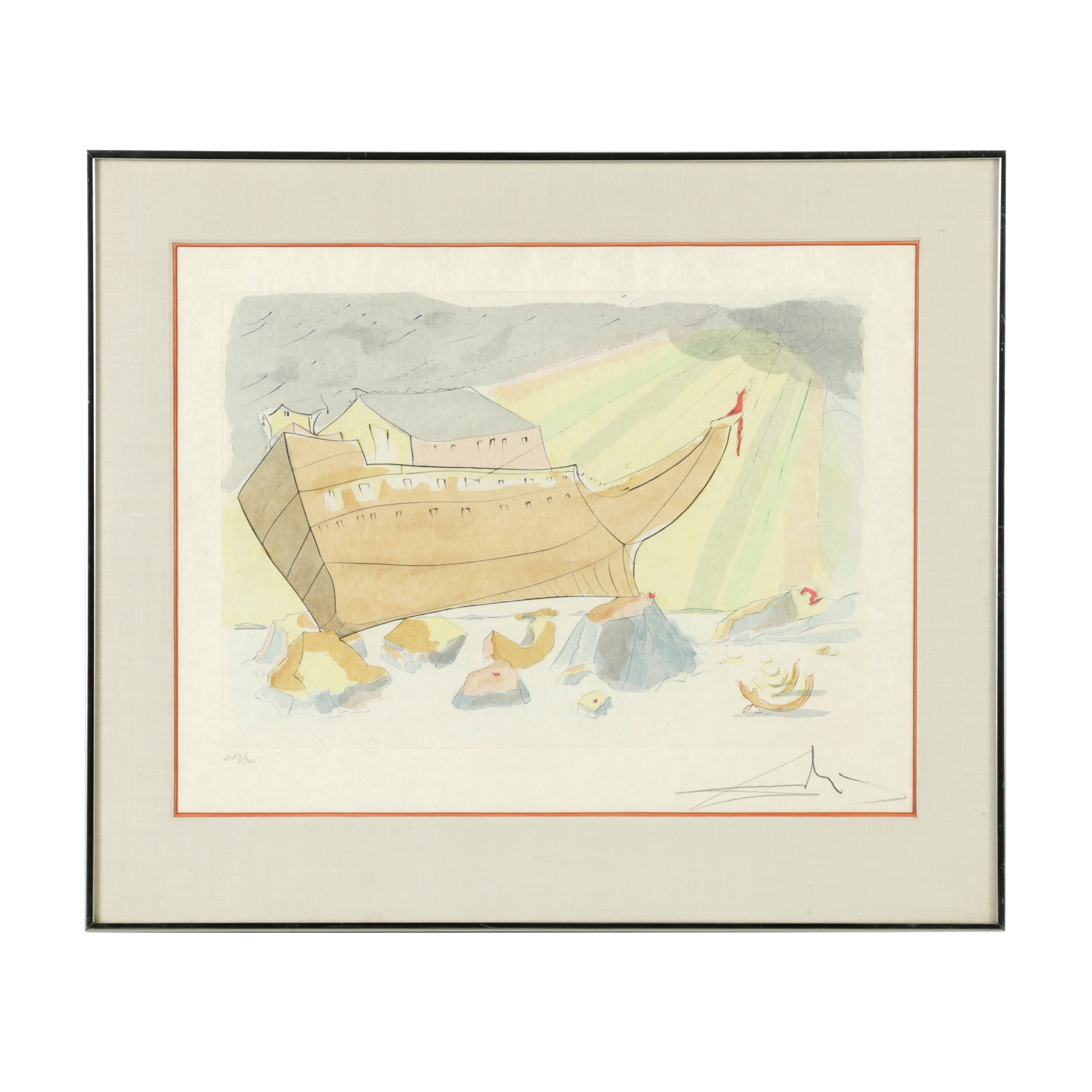 "Salvador Dali Limited Edition Engraving with Color on Arches Paper  ""Noah's Ark"""