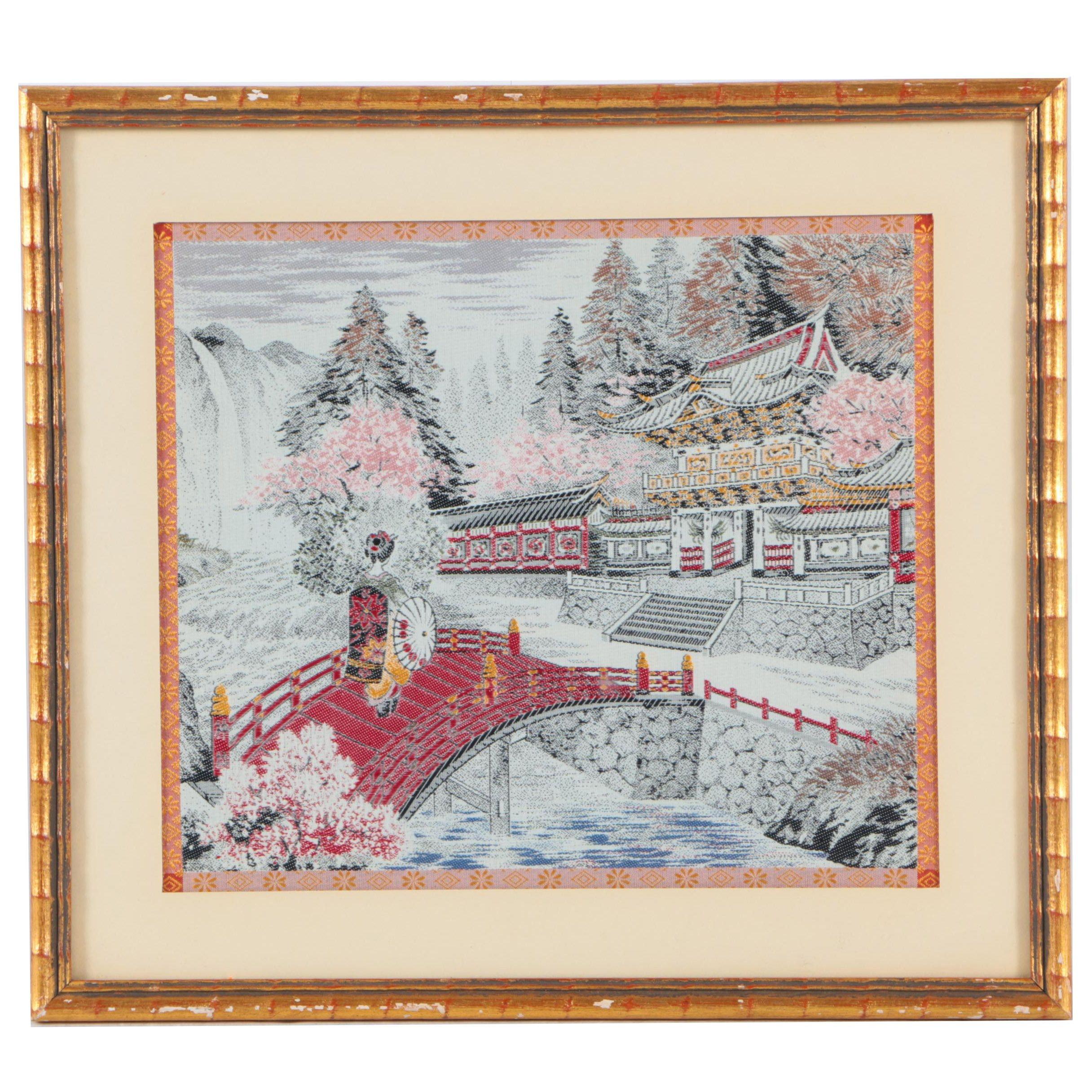 Chinese Woven Silk Garden Scene