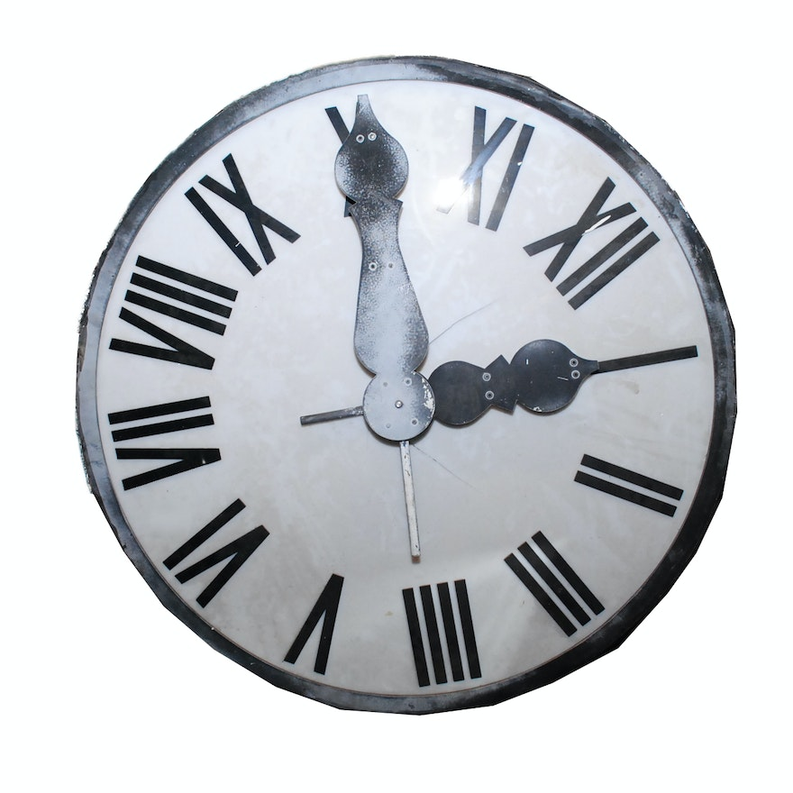 Vintage Large Clock Face With Electric Motor Ebth