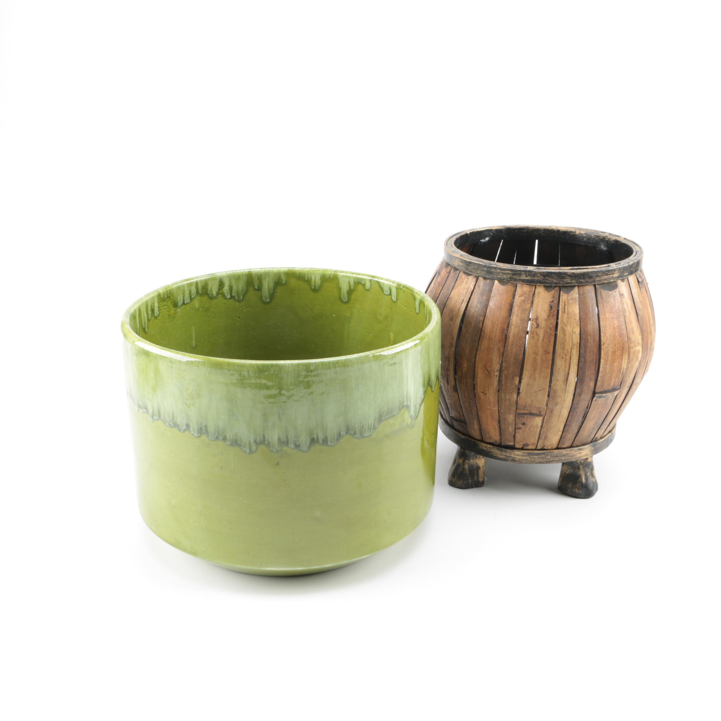Decorative Wood and Ceramic Planters