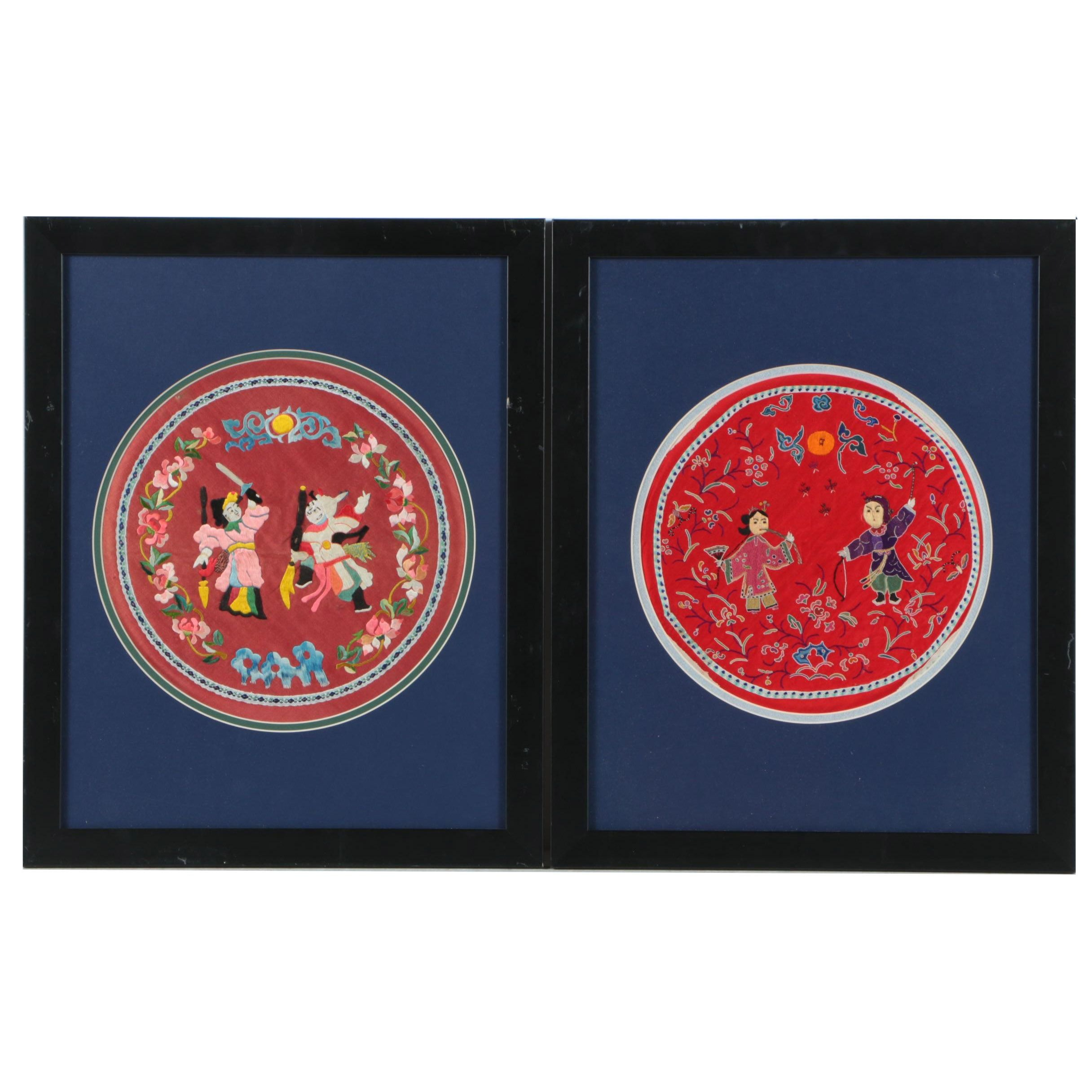 Pair of Antique Chinese Circular Embroideries