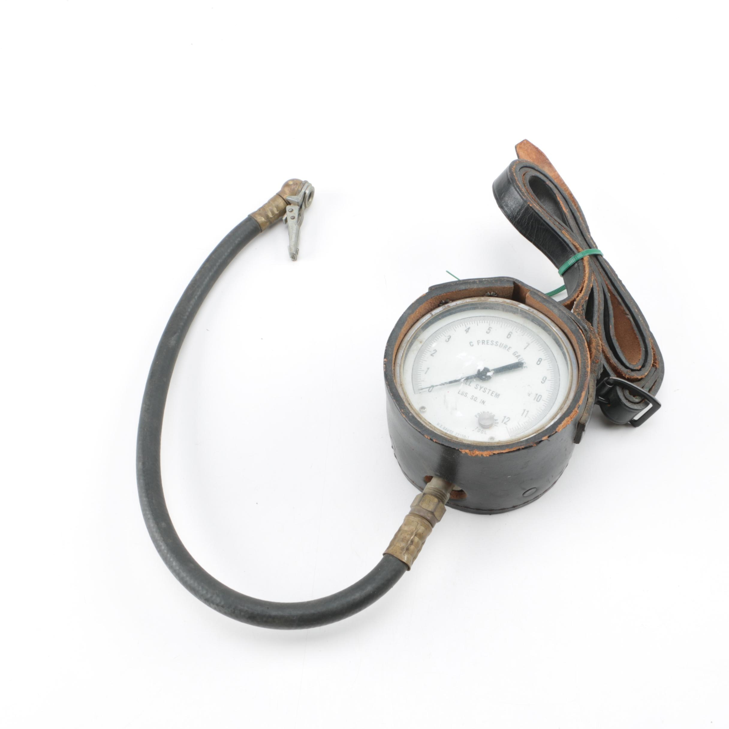 Leather Wrapped Pressure Gauge