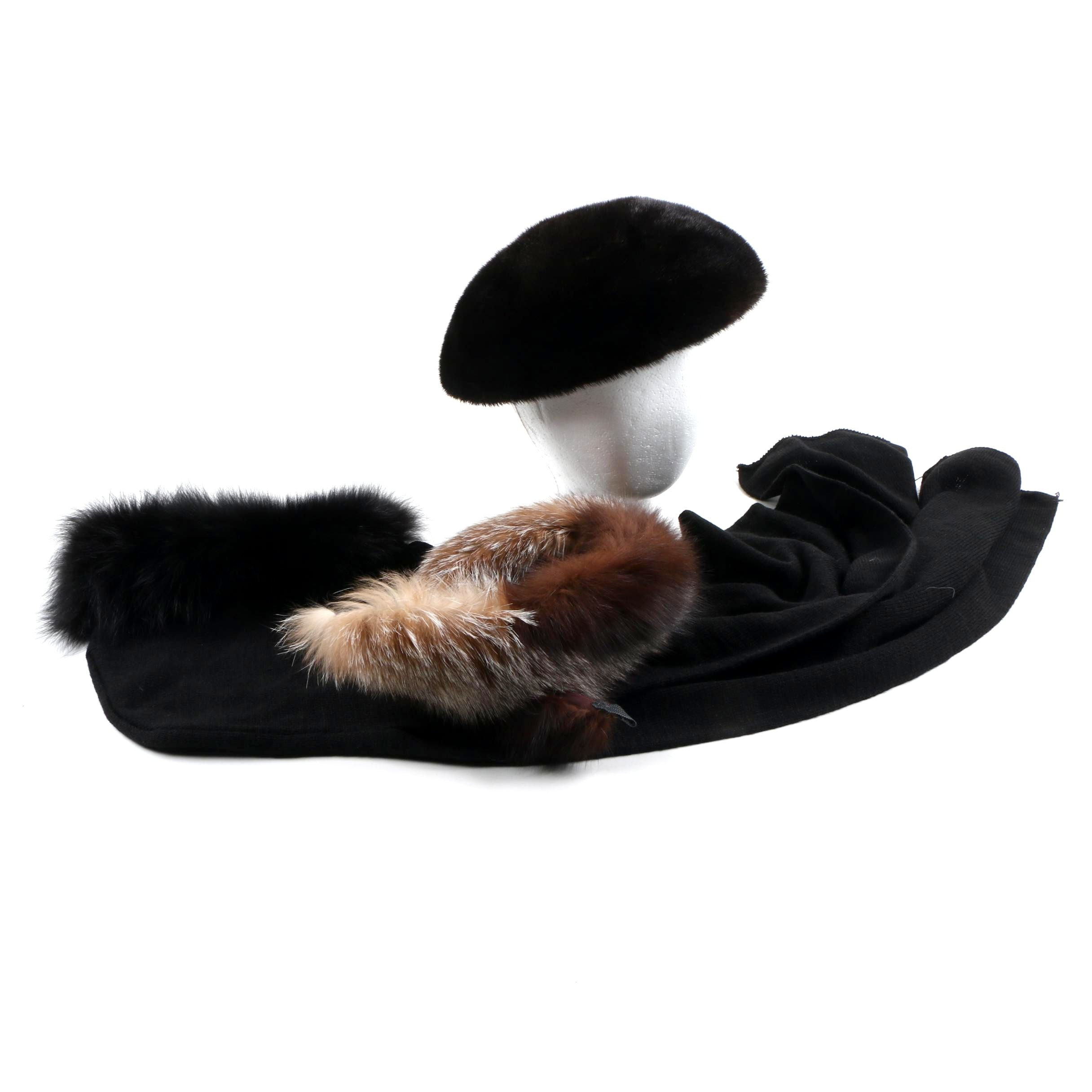 Wome's Fur Accessories Including Fox Fur and Mink Fur