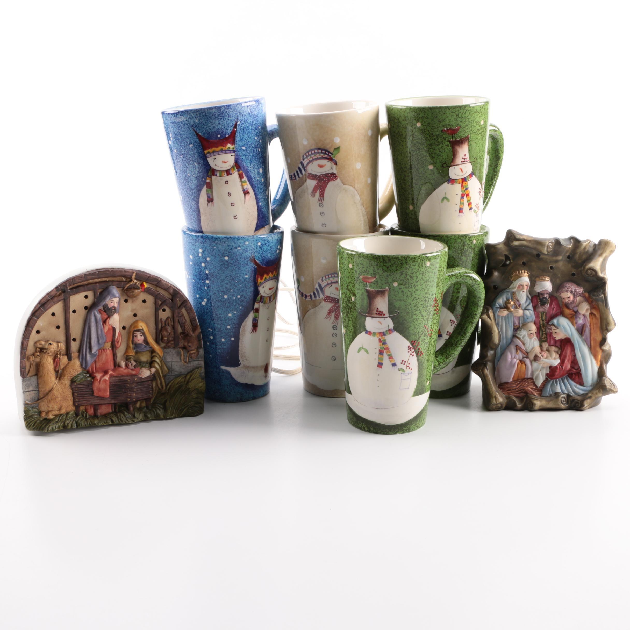 Christmas Mugs and Nativity Figurines