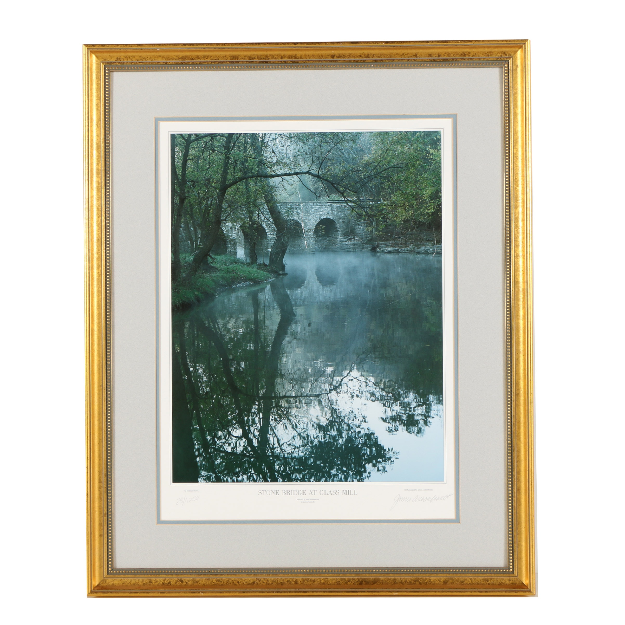 """James Archambeault Limited Edition Offset Lithograph """"Stone Bridge at Glass..."""""""