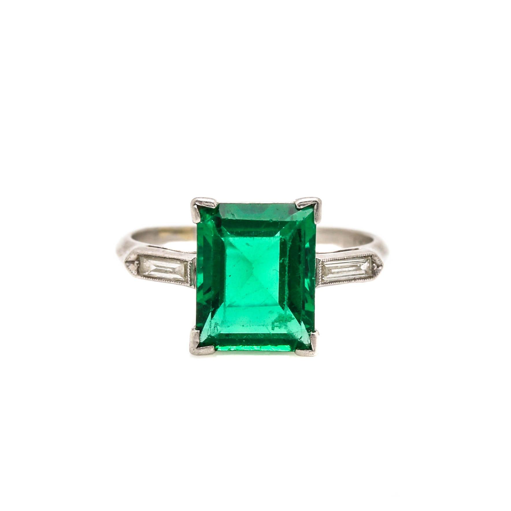 Platinum Glass and Diamond Ring