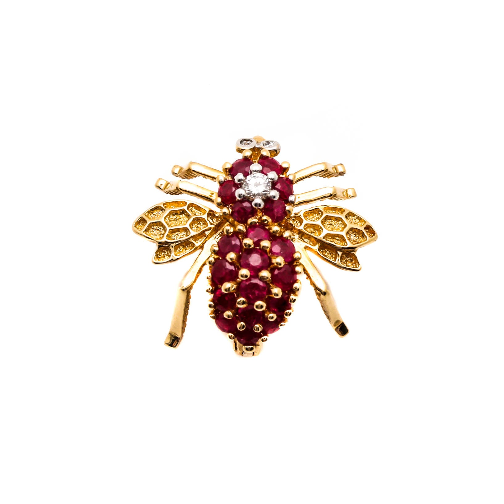 14K Yellow Gold Ruby and Diamond Bee Brooch